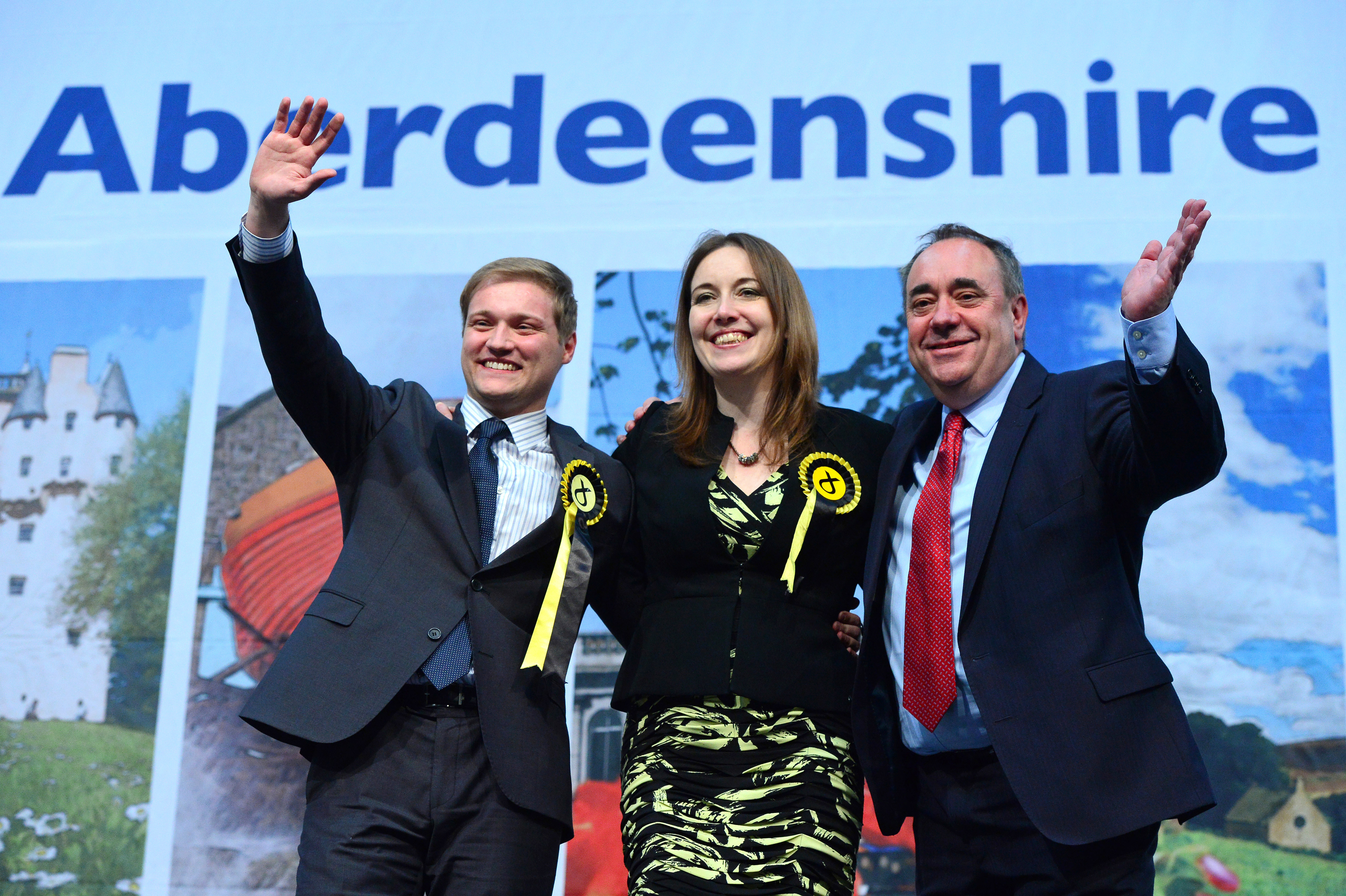 Alex Salmond with Stuart Donaldson and Eilidh Whiteford after being elected in May last year.