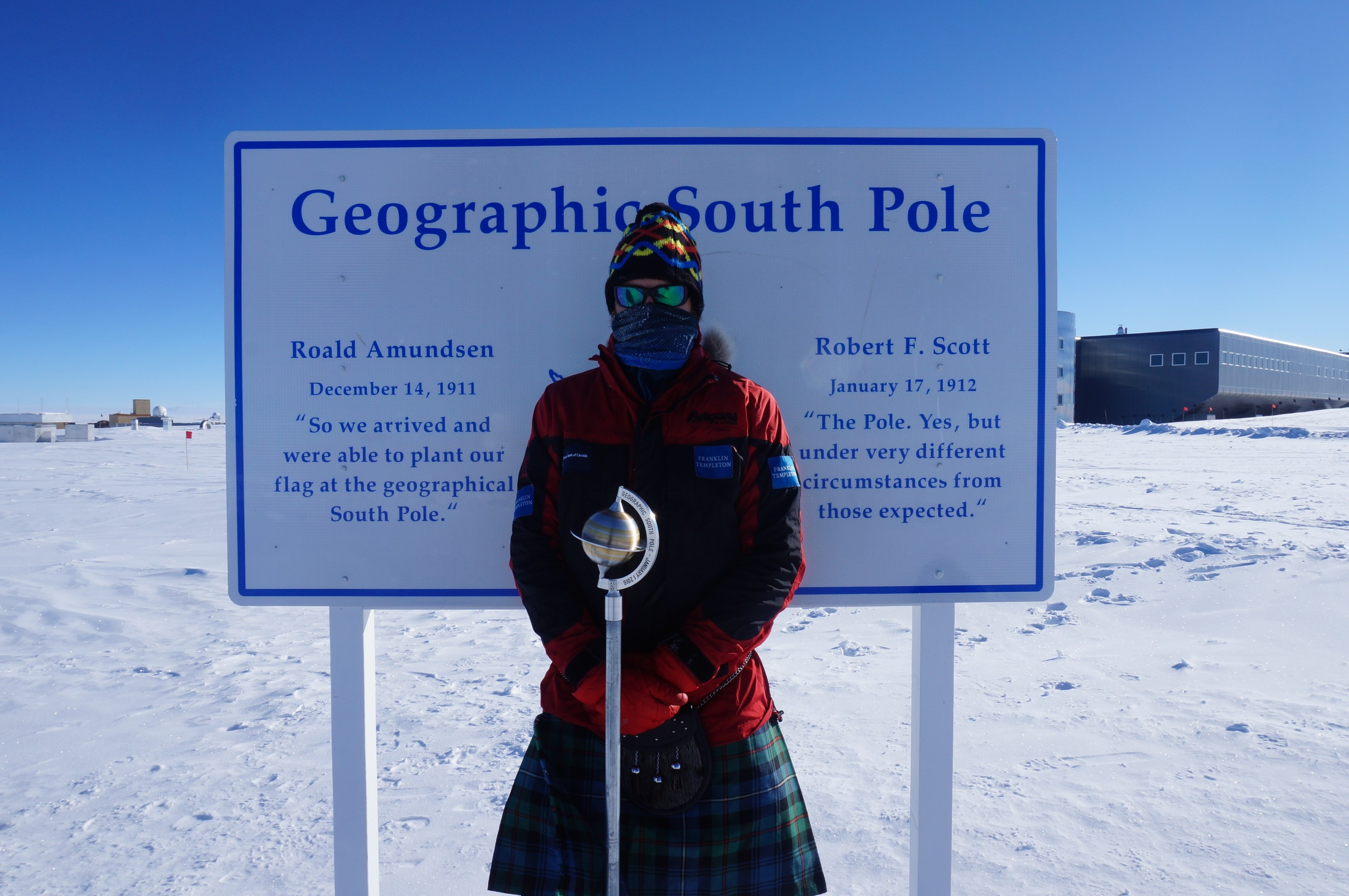 Adventurer Luke Robertson at the Geographic South Pole.