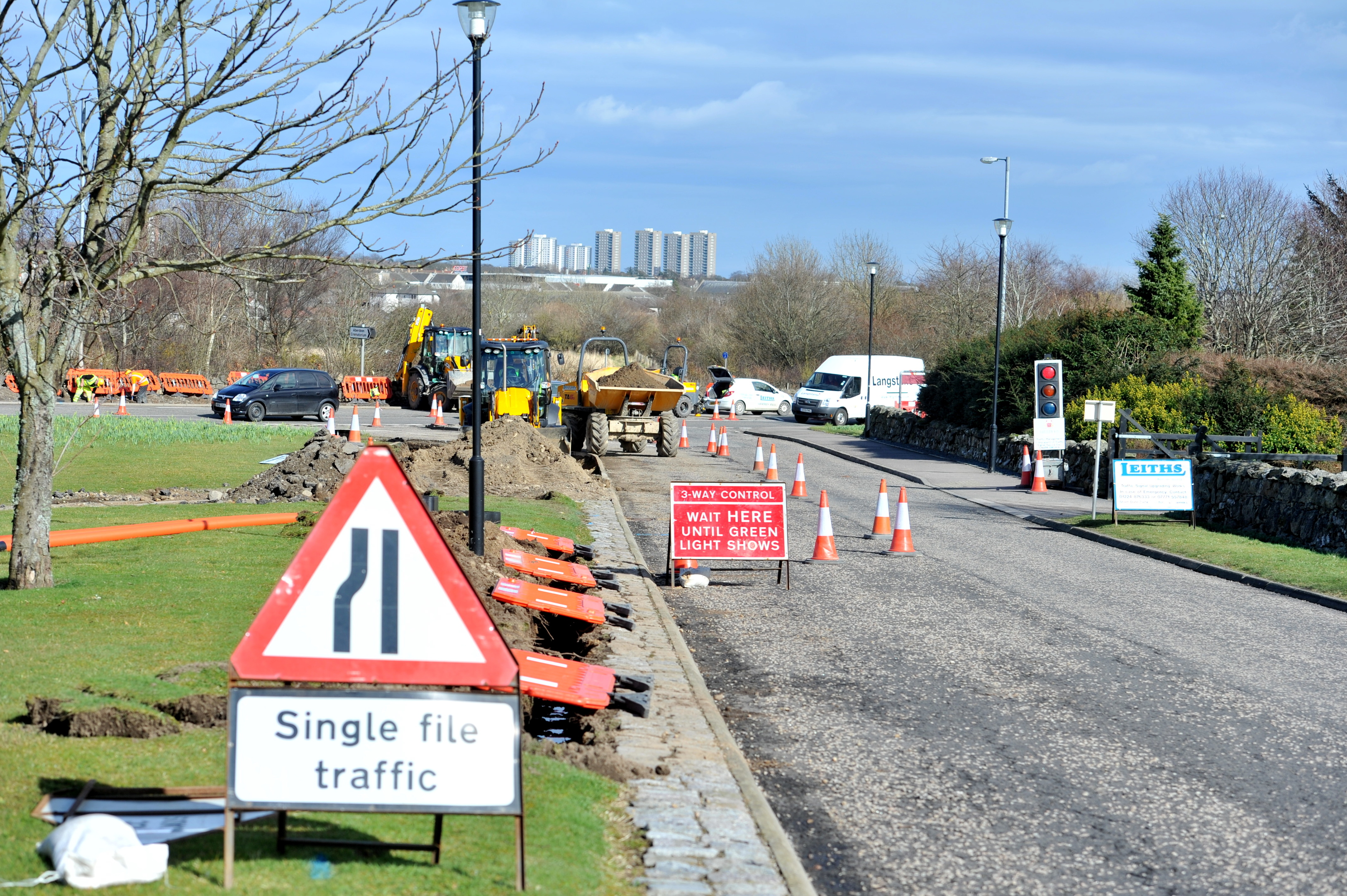 Traffic lights will be installed at the junction with Skene Road.