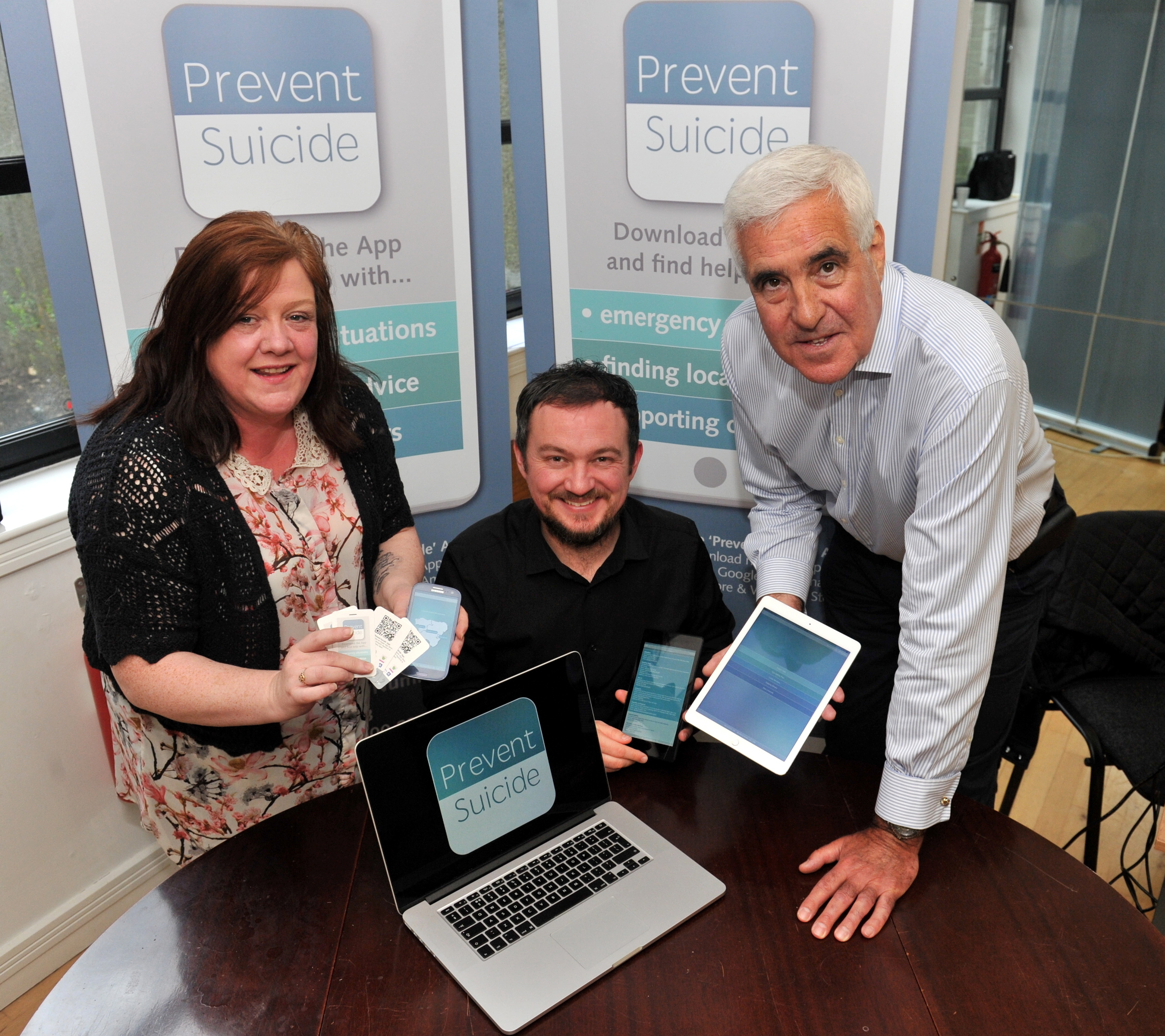 Fiona Weir, app developer John-Paul Thain and Choose Life's Neil Murray at the launch of the app