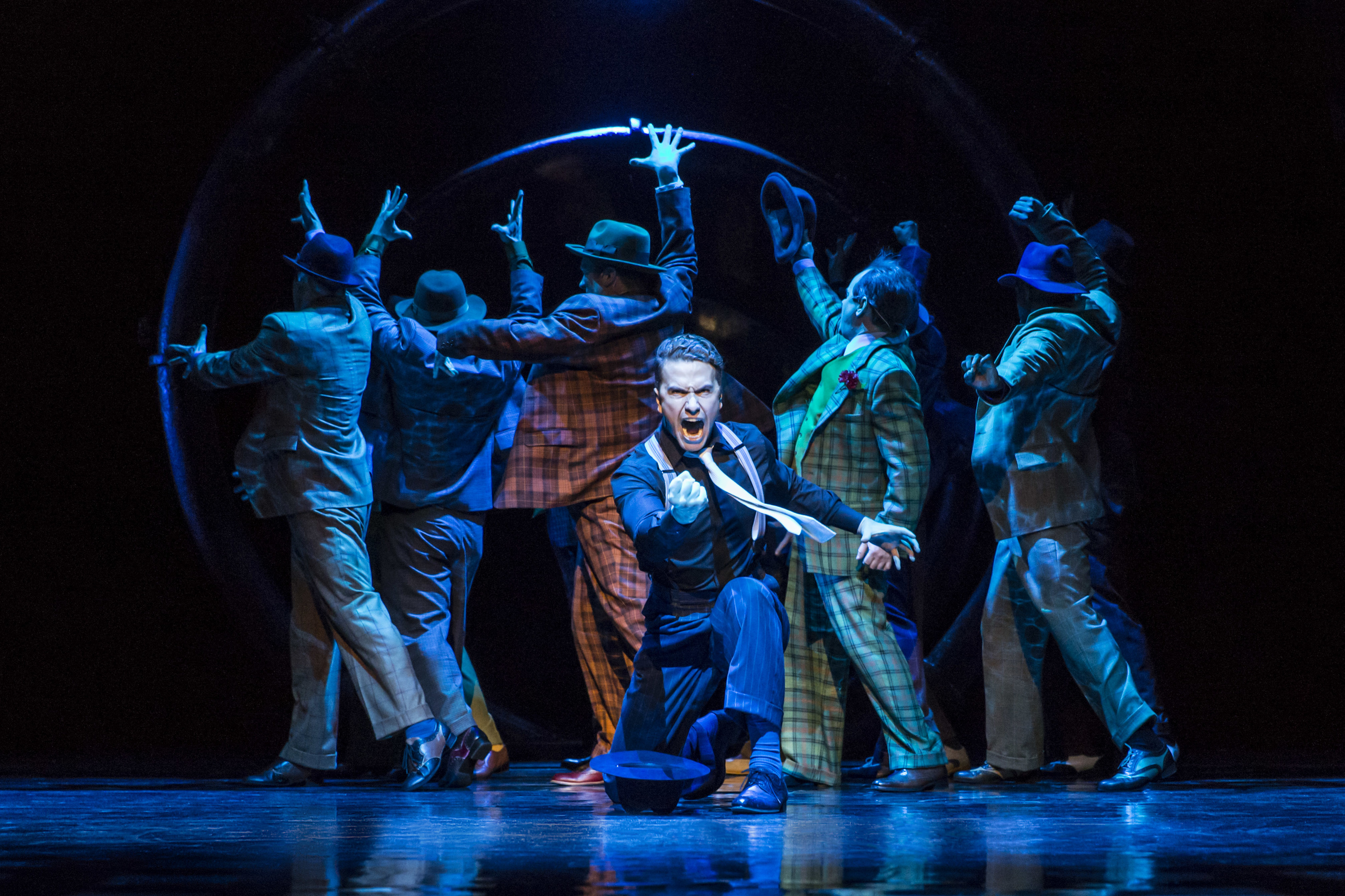 Richard Fleeshman as Sky masterton in a scene from Guys and Dolls  musical