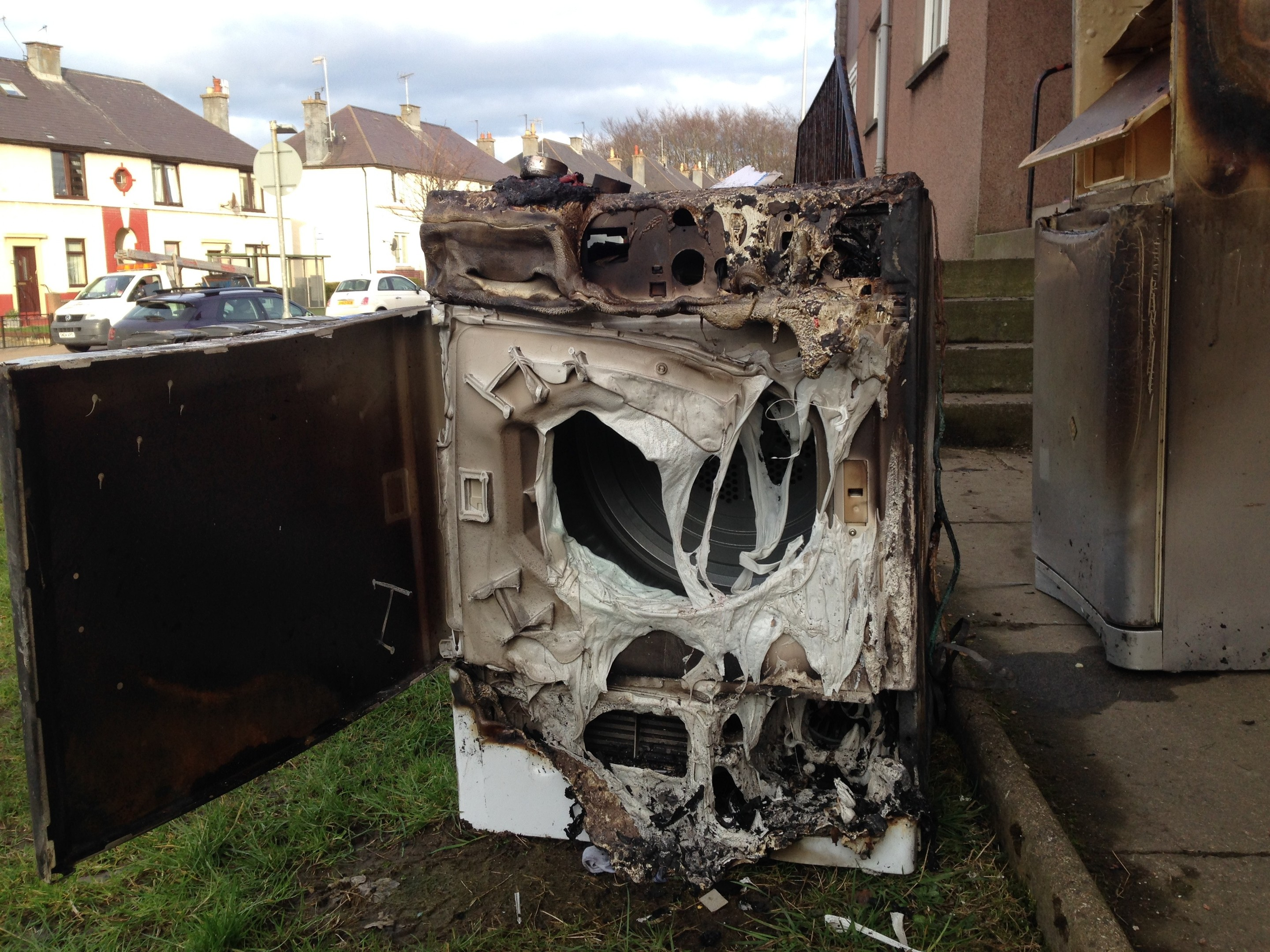 The remains of the tumble  dryer.
