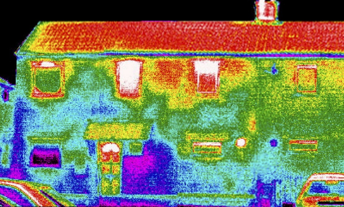 The thermal view of a property shows where heat is being lost.