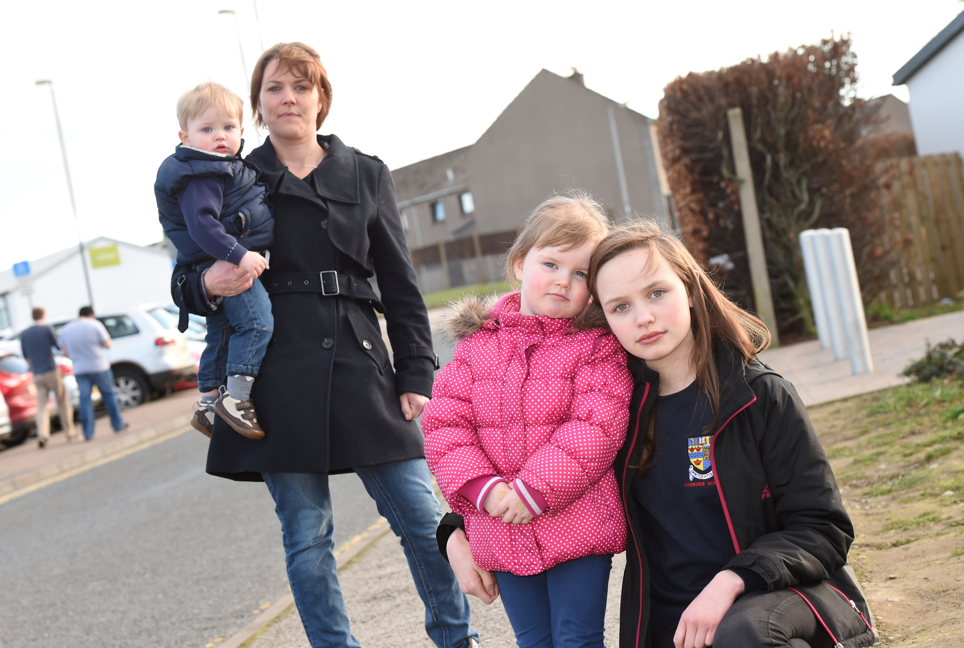 Mandy Adam with  children Lexie, Archie and eldest daughter Morgan,  who was knocked down.
