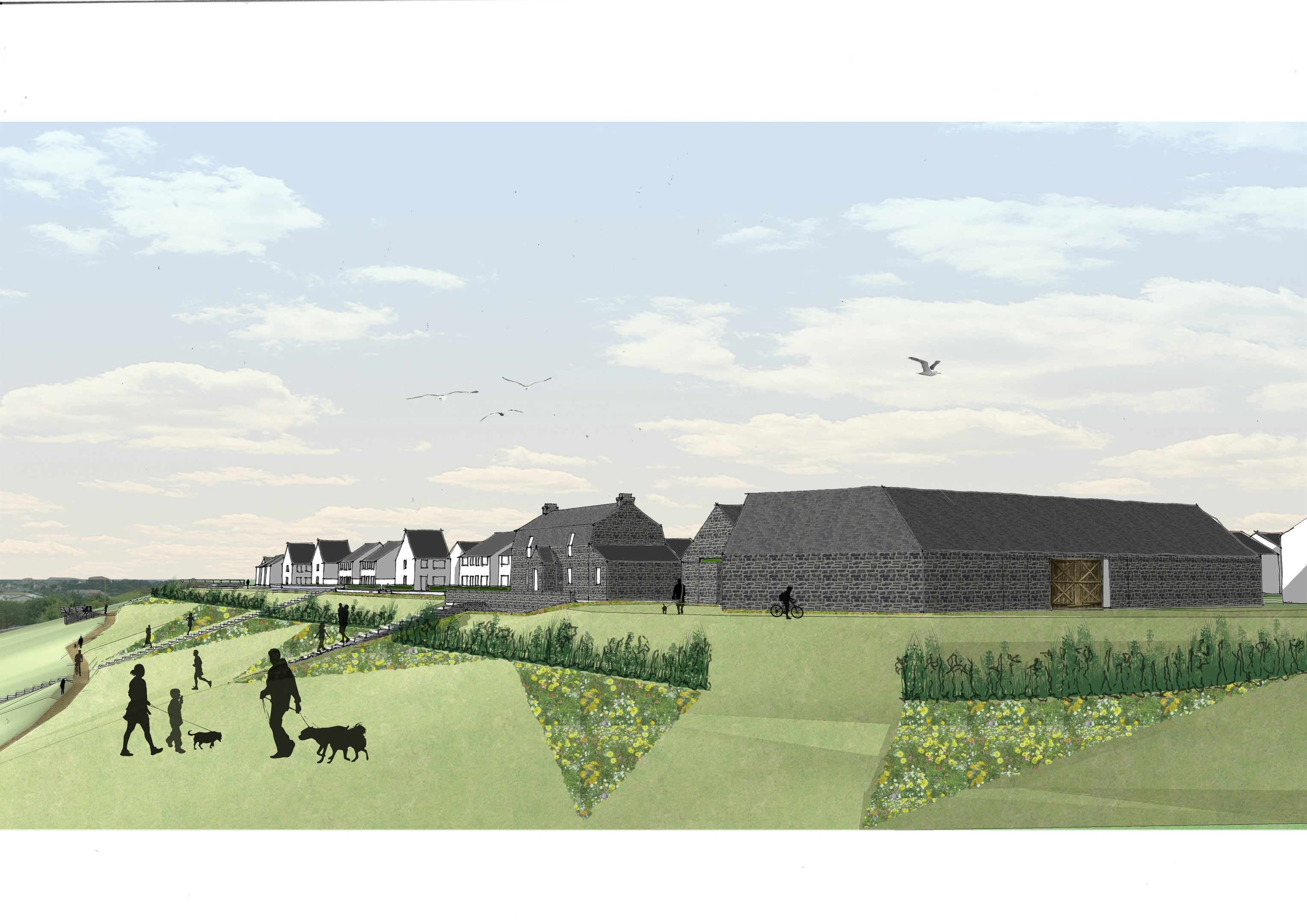 Stewart Milne has  lodged  plans to build 250 homes and a large supermarket.