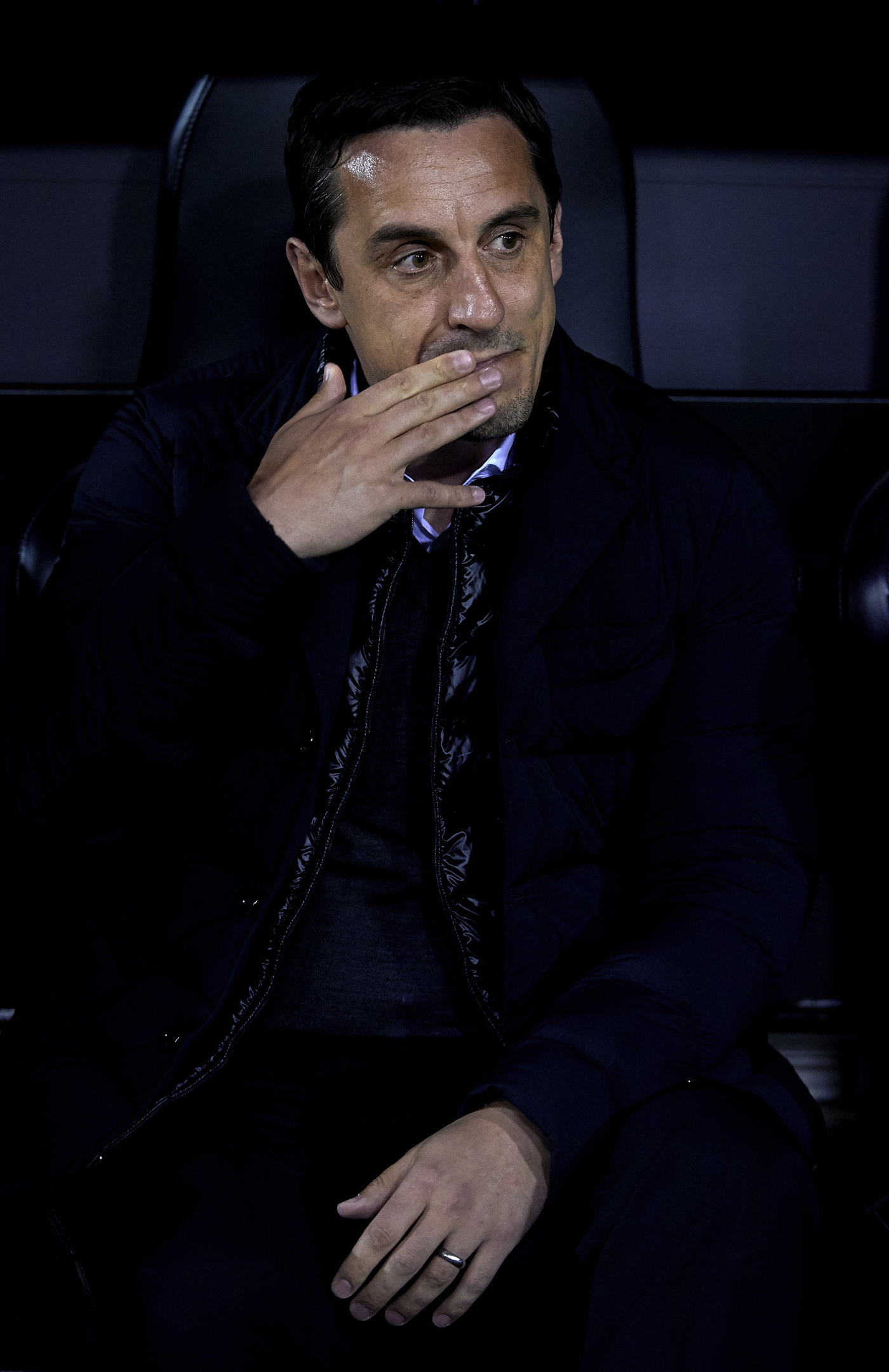 Gary Neville manager of Valencia CF reacts prior to the La Liga match between Valencia CF and Atletico de Madrid at Estadi de Mestalla.