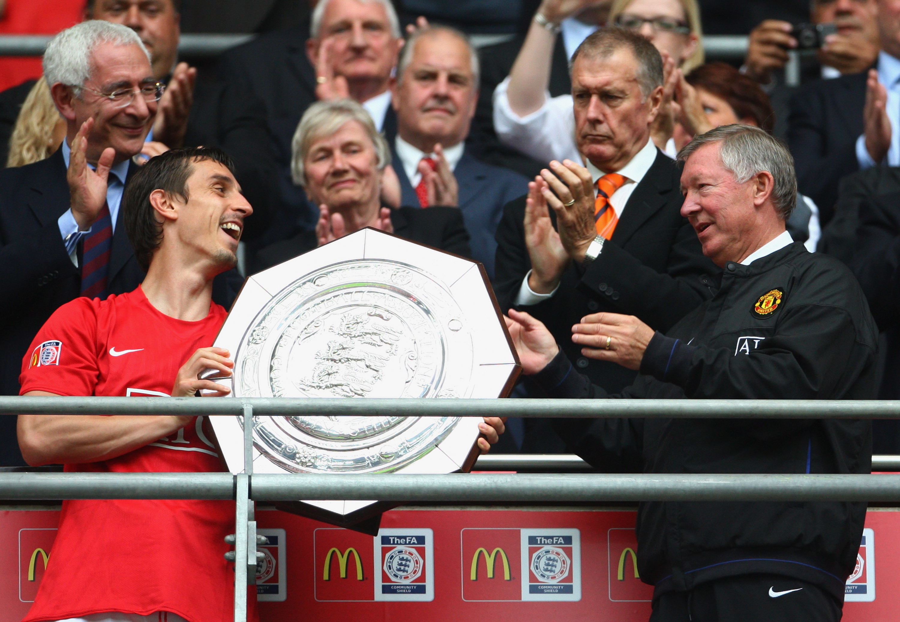 Gary Neville with Sir Alex Ferguson in 2008.