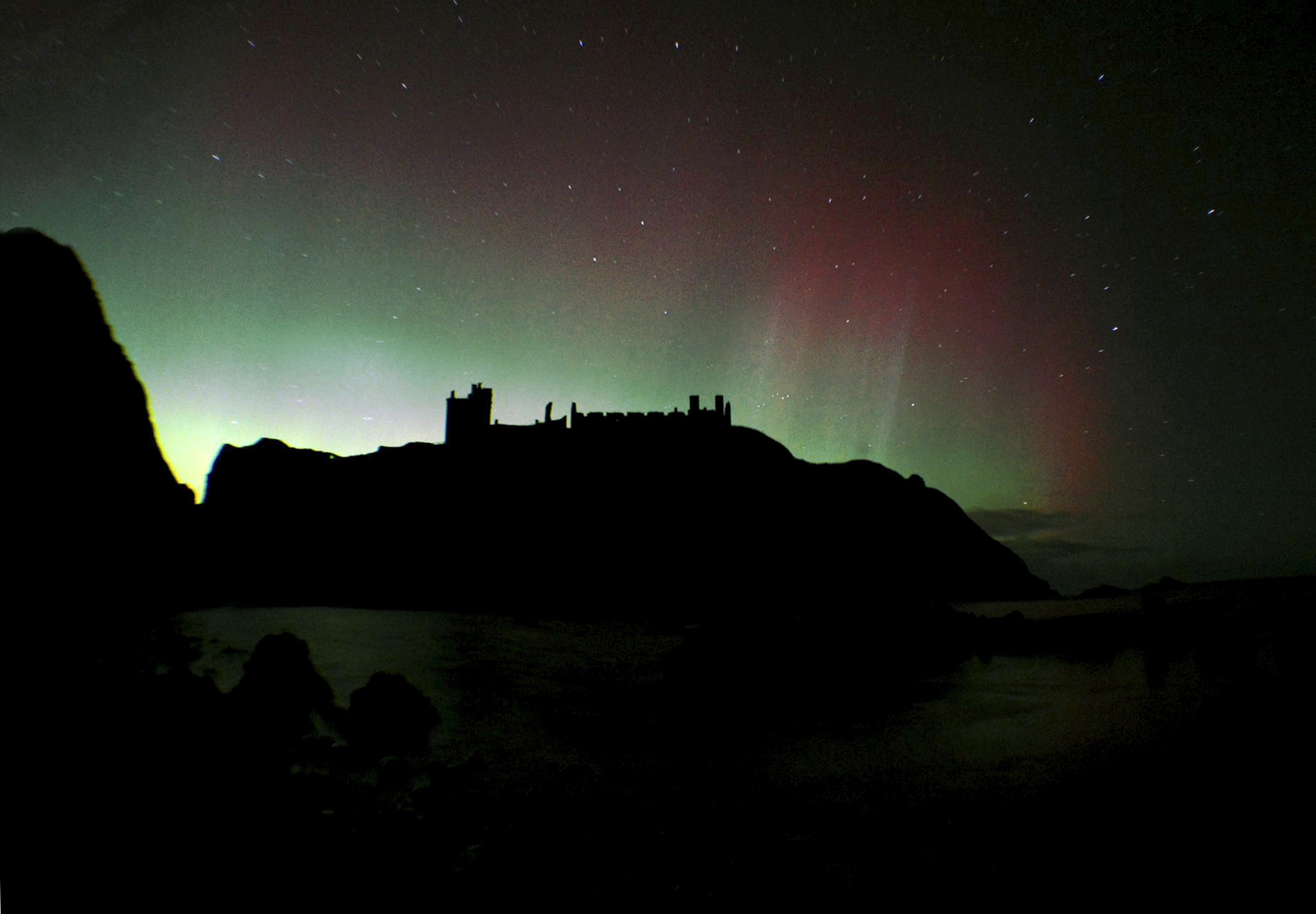 Northern Lights over Dunnotar Castle last night. Picture by Iain Cackette