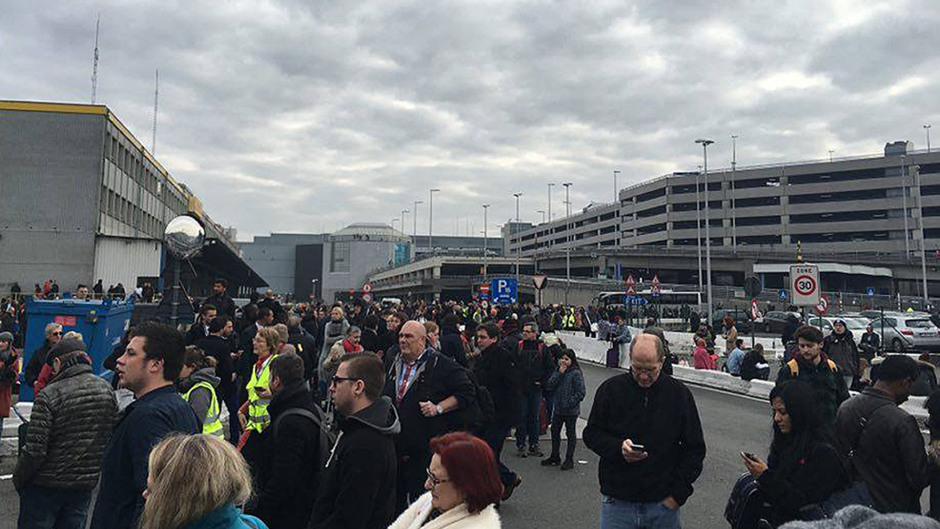 Handout photo taken with permission from the Facebook page of Bart van Meele of the scene at Brussels Airport after two explosions