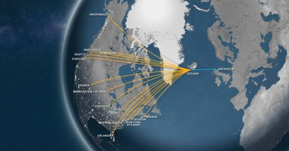 Connections to North America from Aberdeen via Iceland