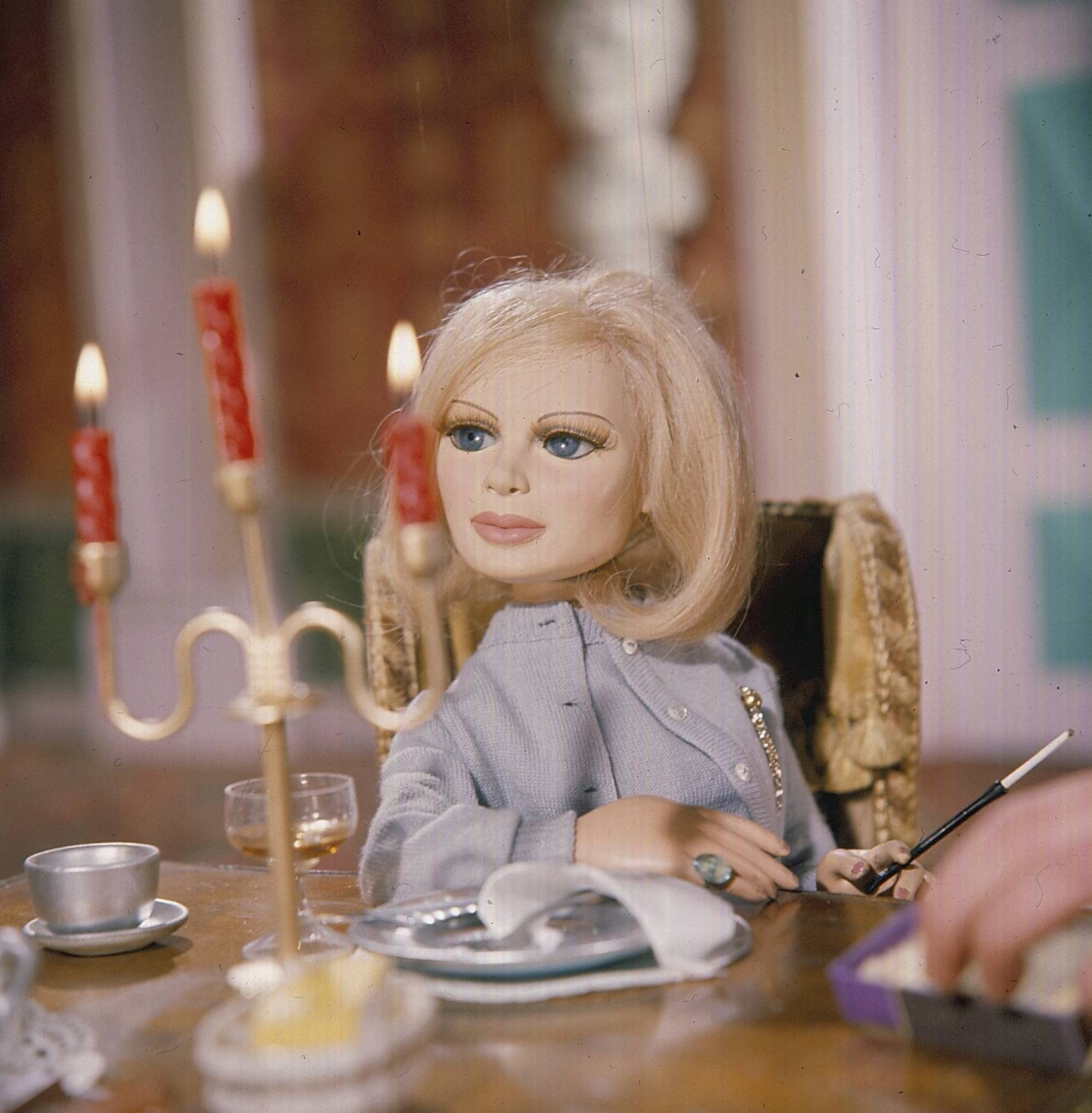 'Lady Penelope' pictured in a scene from the television series 'Thunderbirds' first broadcast in 1965.