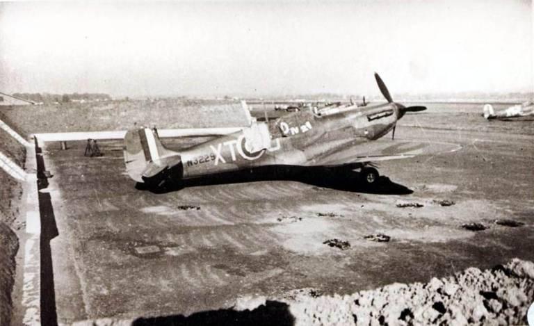 A Spitfire at RAF Montrose during WW2.