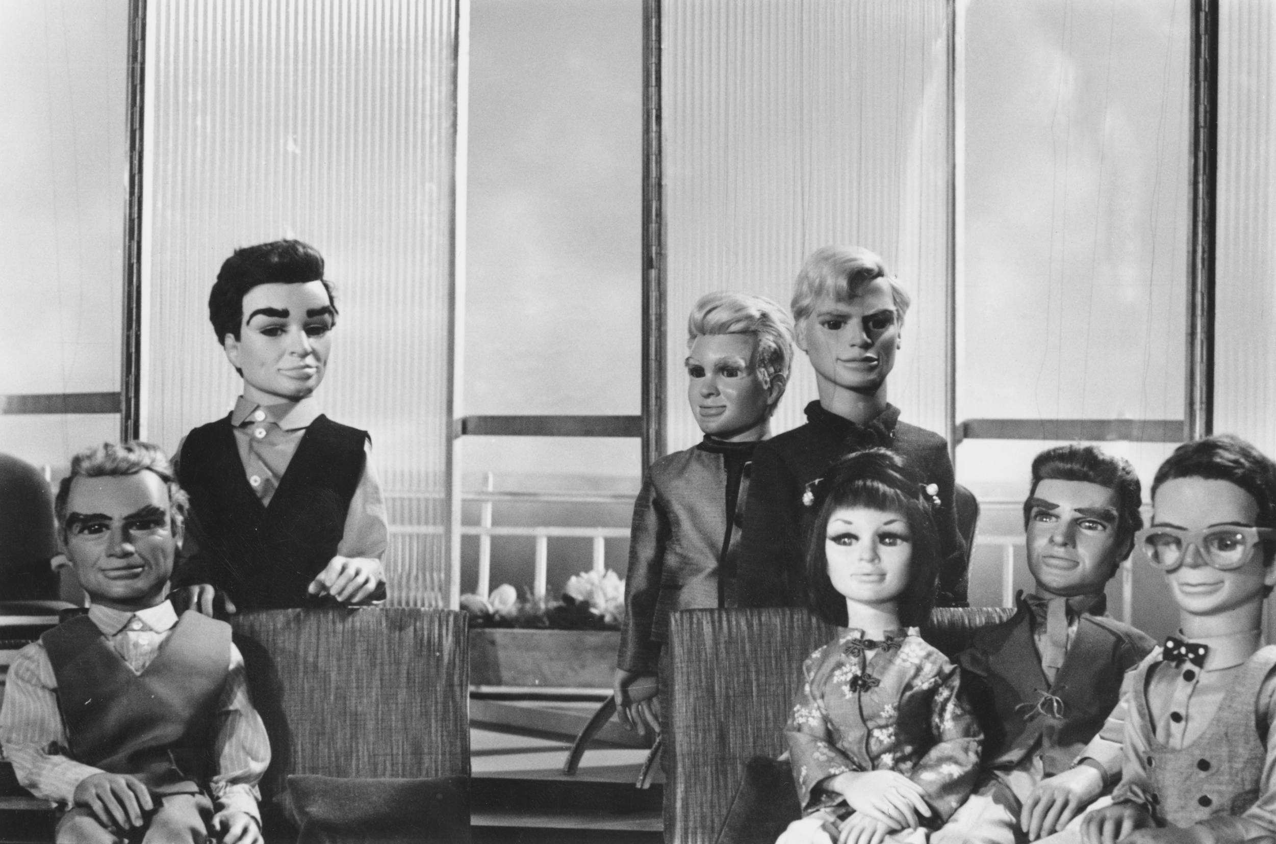 The puppet cast of Gerry and Sylvia Anderson's 'supermarionation' TV series 'Thunderbirds',