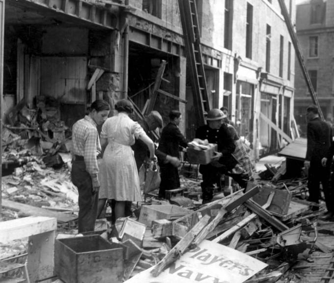 Bomb damage on Menzies Road, Aberdeen.