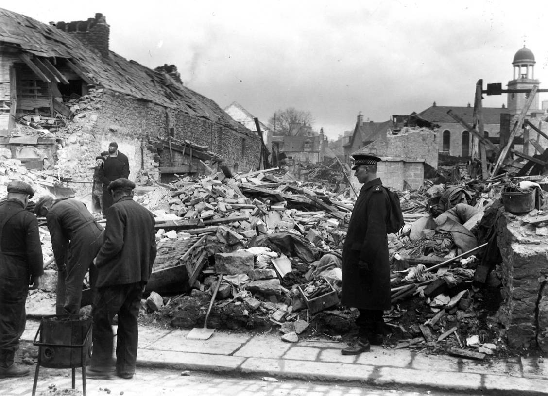 Bomb damage near Causewayend Church