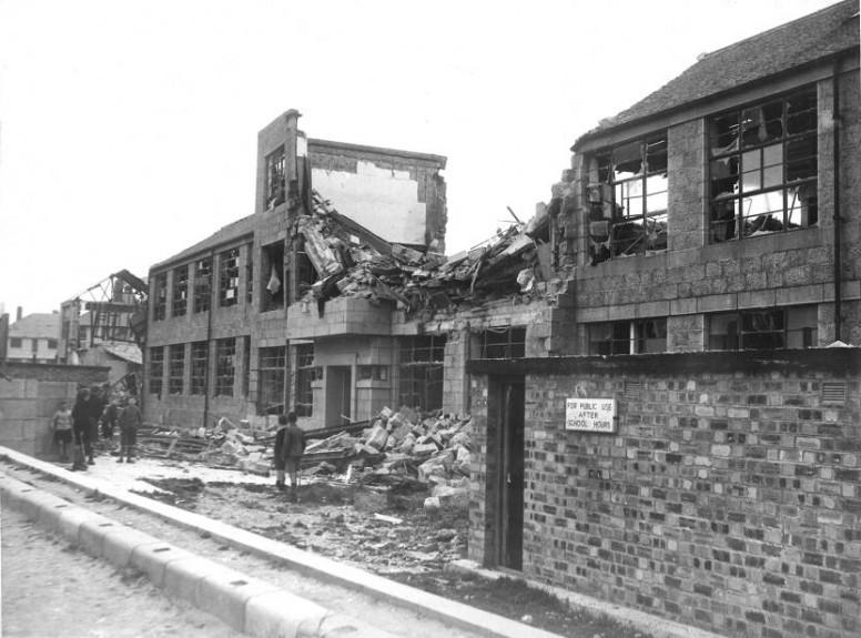 Bomb damage at Middlefield School, Aberdeen.