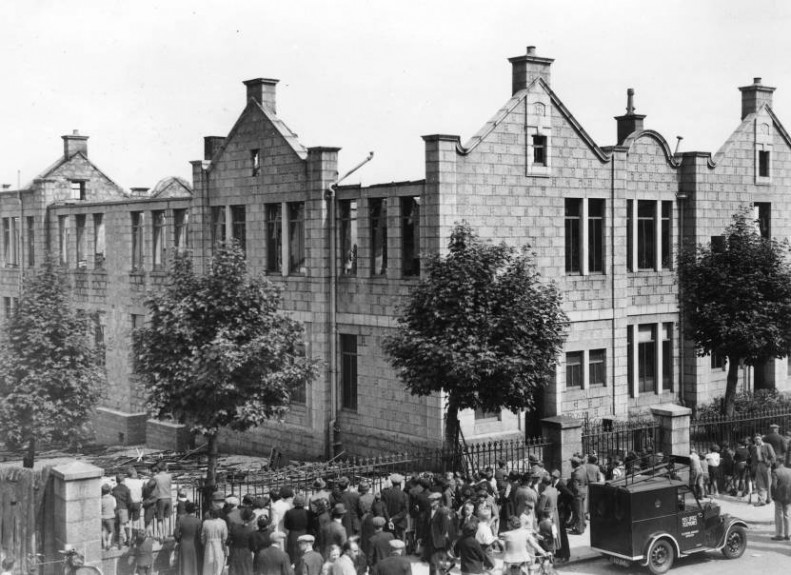 A large crowd gathered outside Victoria Road School, in Torry,
