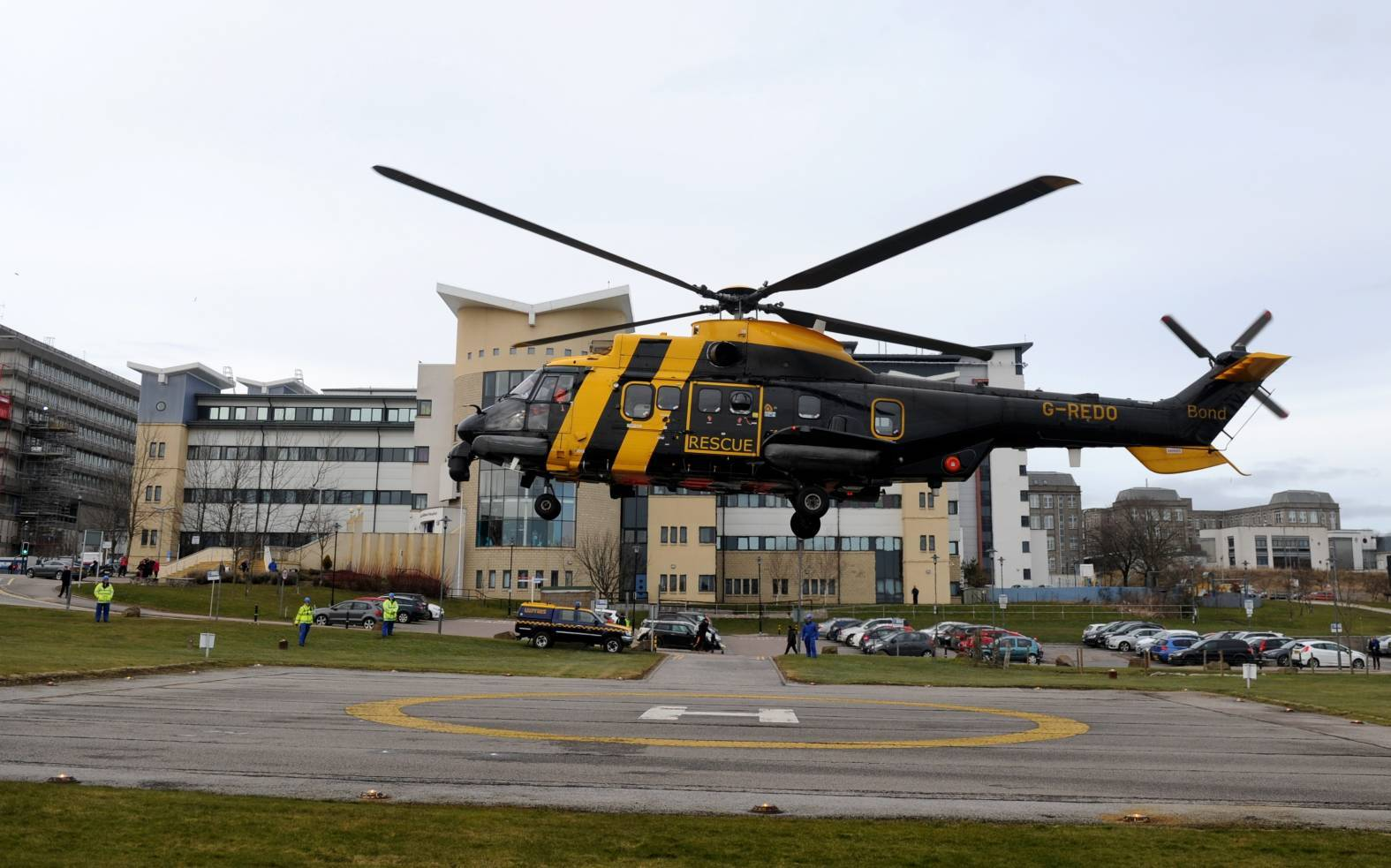 The Coastguard helicopter arrives at Aberdeen Royal Infirmary today