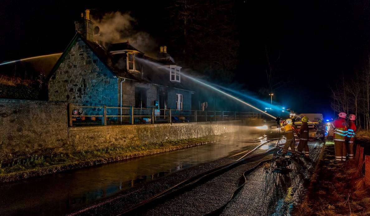 Firefighters at the Old Bridge Cottage, near Mossat