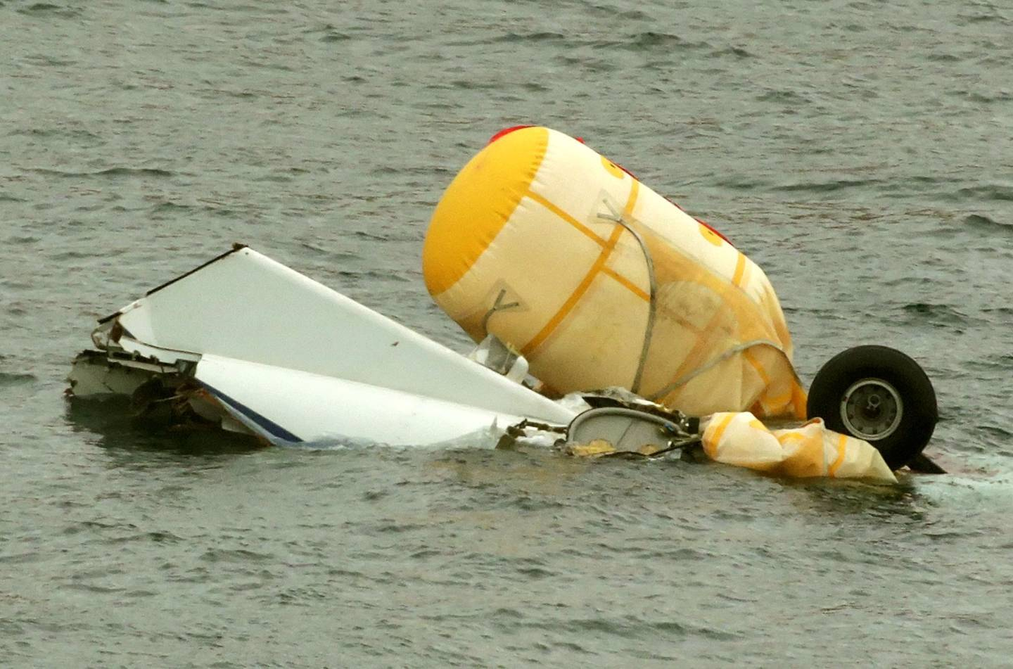 The wreckage of the Super Puma L2 helicopter which went down in the North Sea with the loss of four lives around two miles west of Sumburgh airport