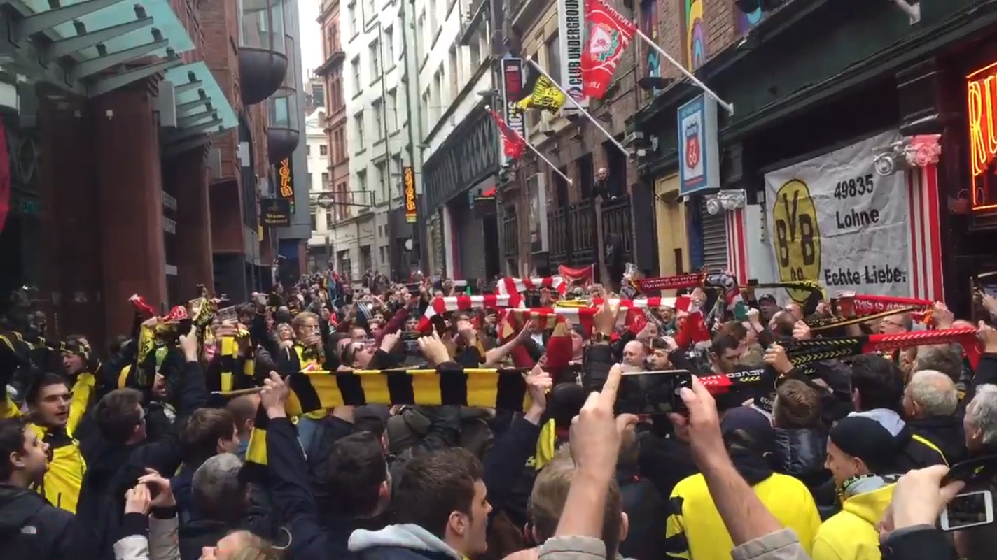 Liverpool and Dortmund fans singing in Liverpool