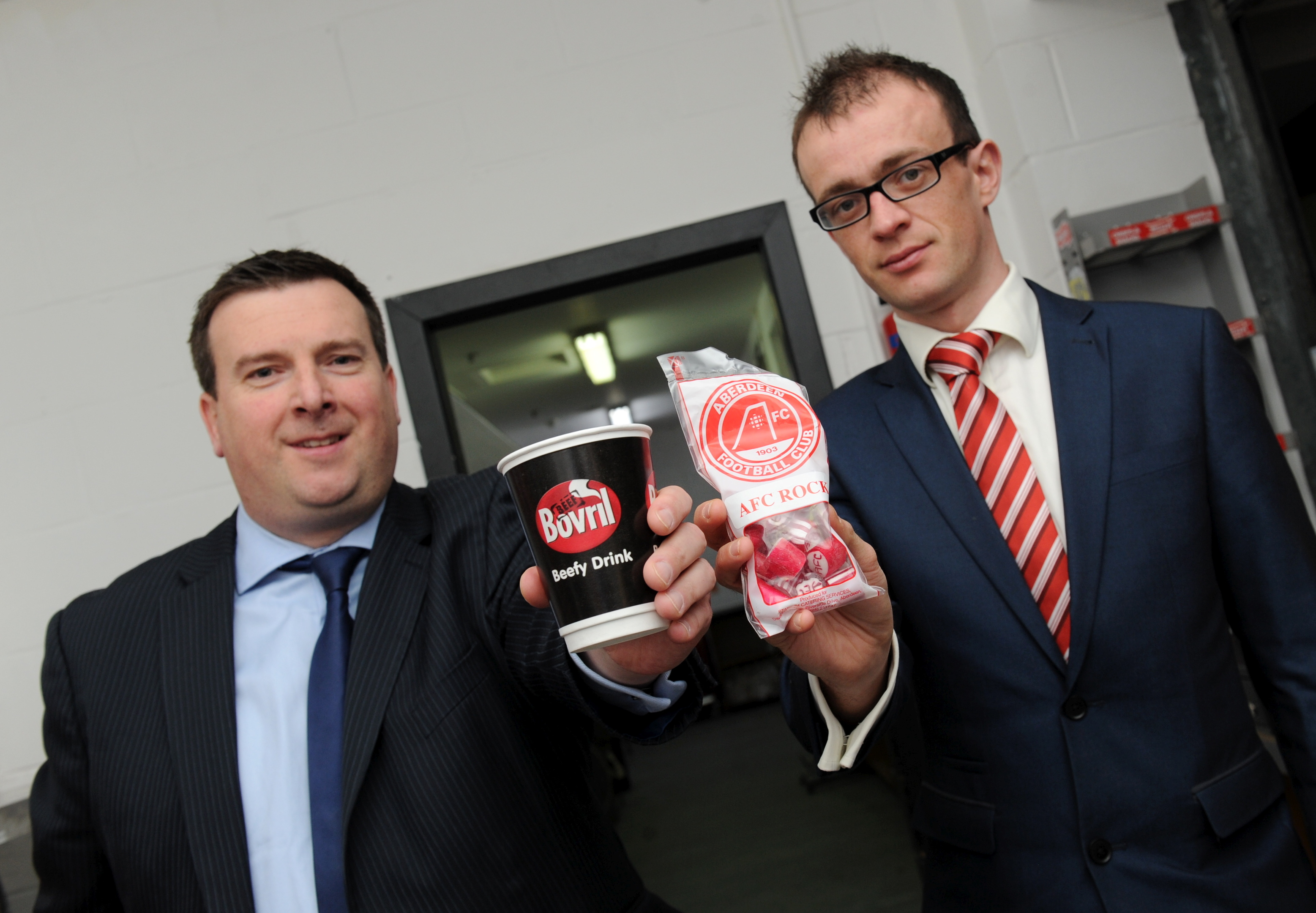 Sodexo accounts director David Trotter and  Aberdeen Football Club general manager Kenny Garden.