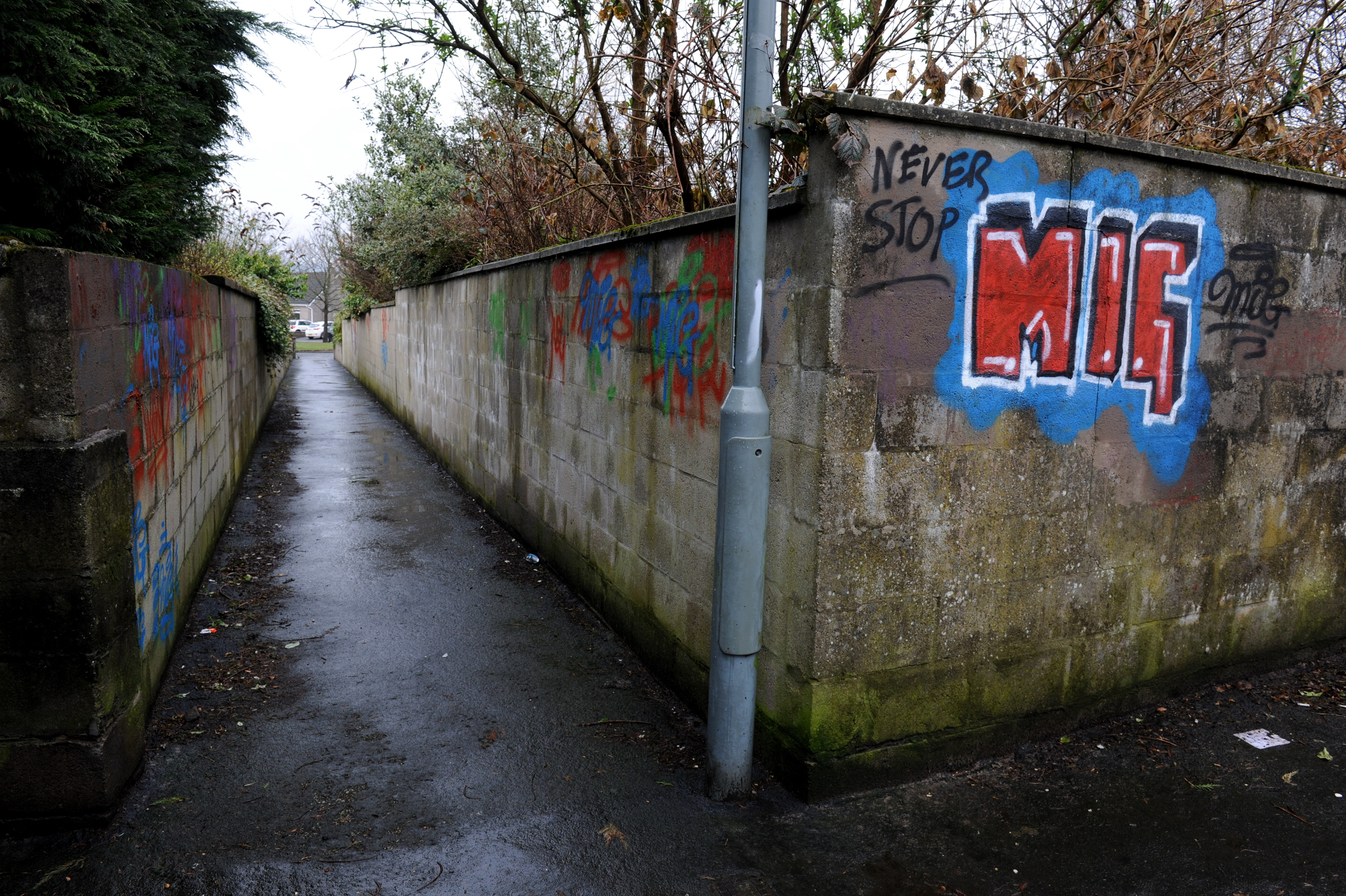 The graffiti on the lane between Glenhome Avenue and Glenhome Gardens in Dyce, Aberdeen.