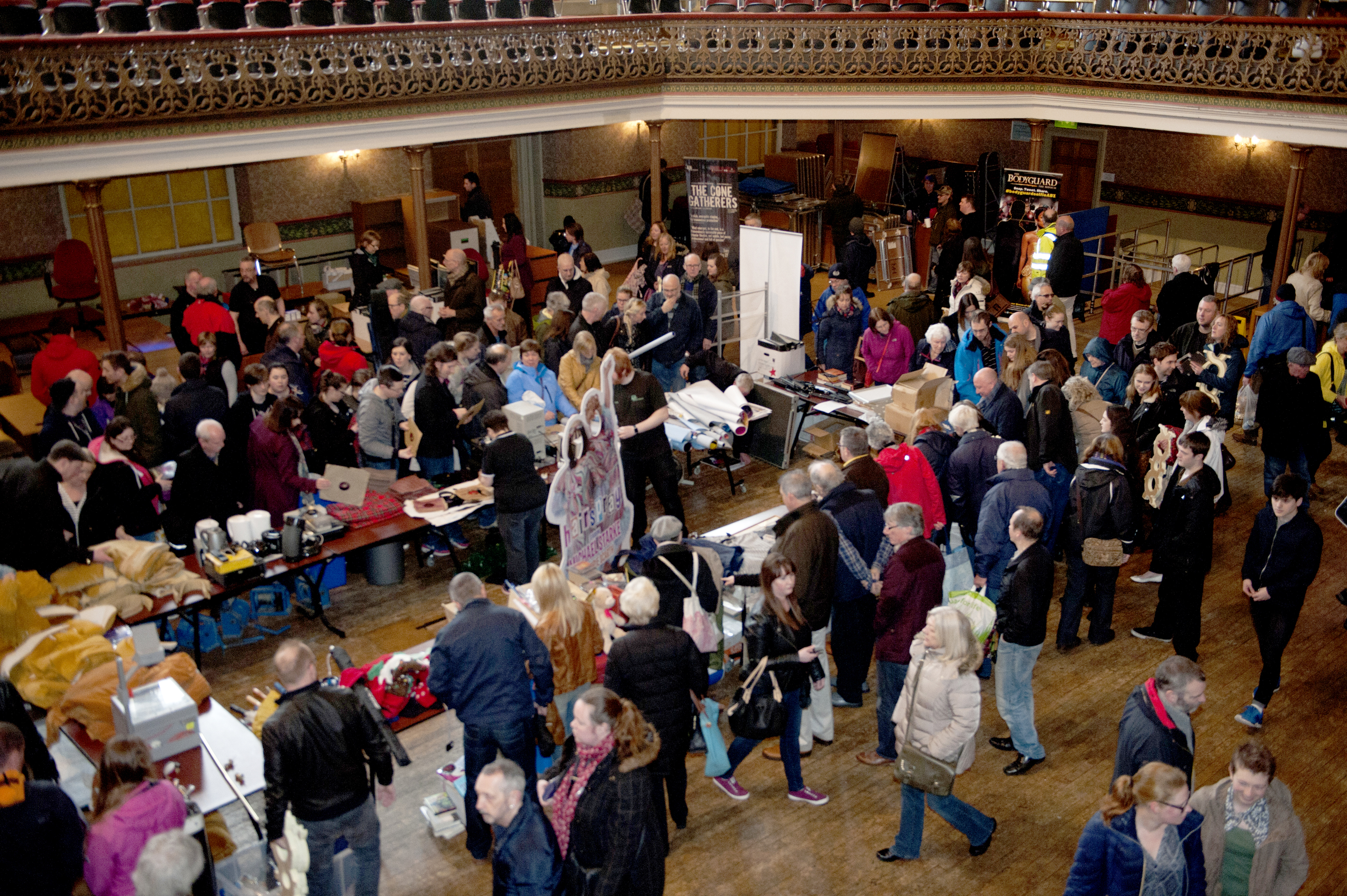 Hundreds of people flocked to the sale of items at the Music Hall.