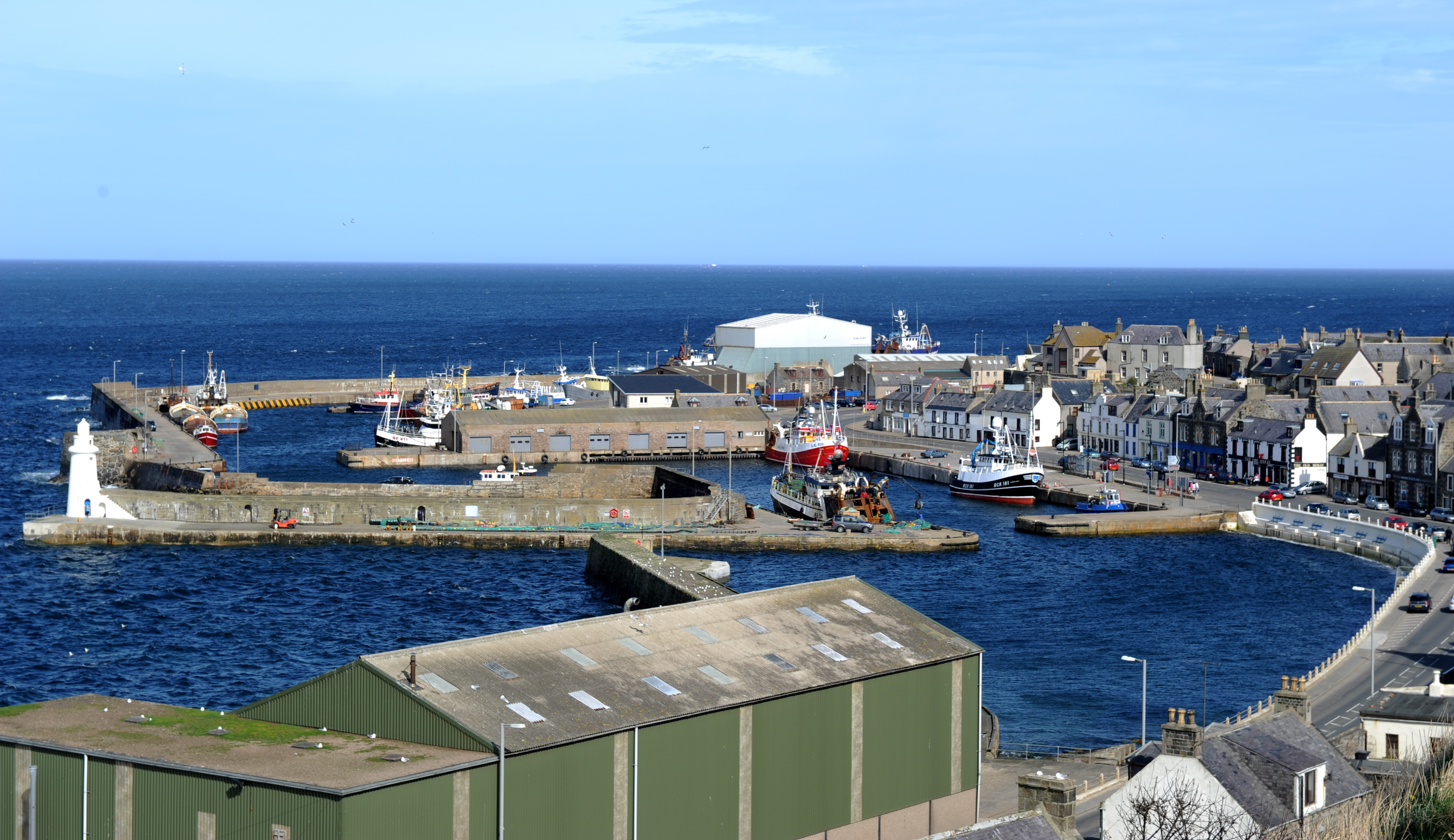 Macduff Harbour where crews from the coastguard searched for around two hours.