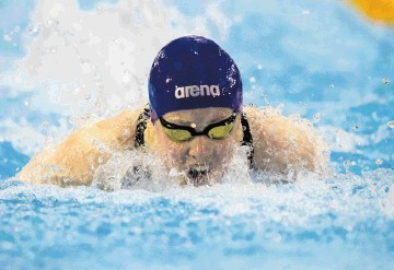 Hannah Miley swimming at the British Championships.