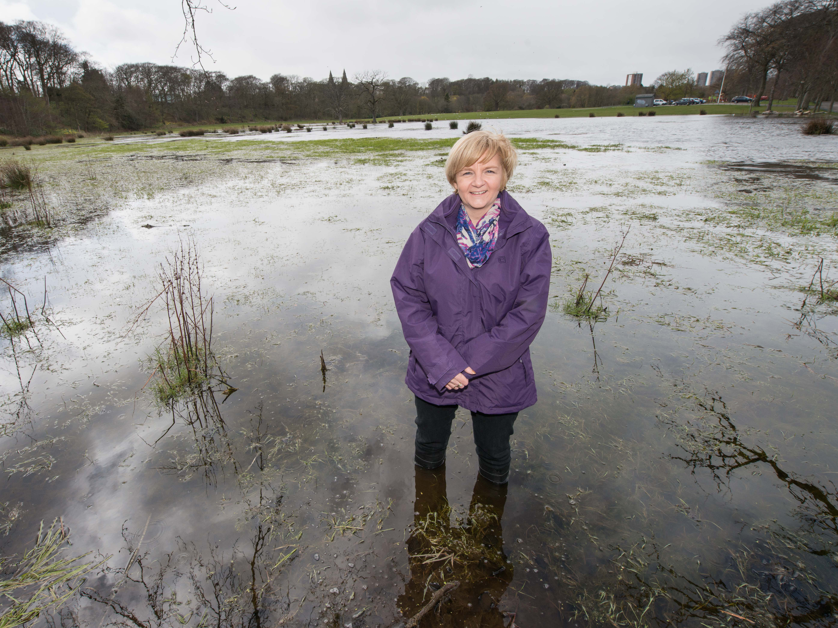Council leader Jenny Laing at the site which is prone to flooding in Seaton Park.