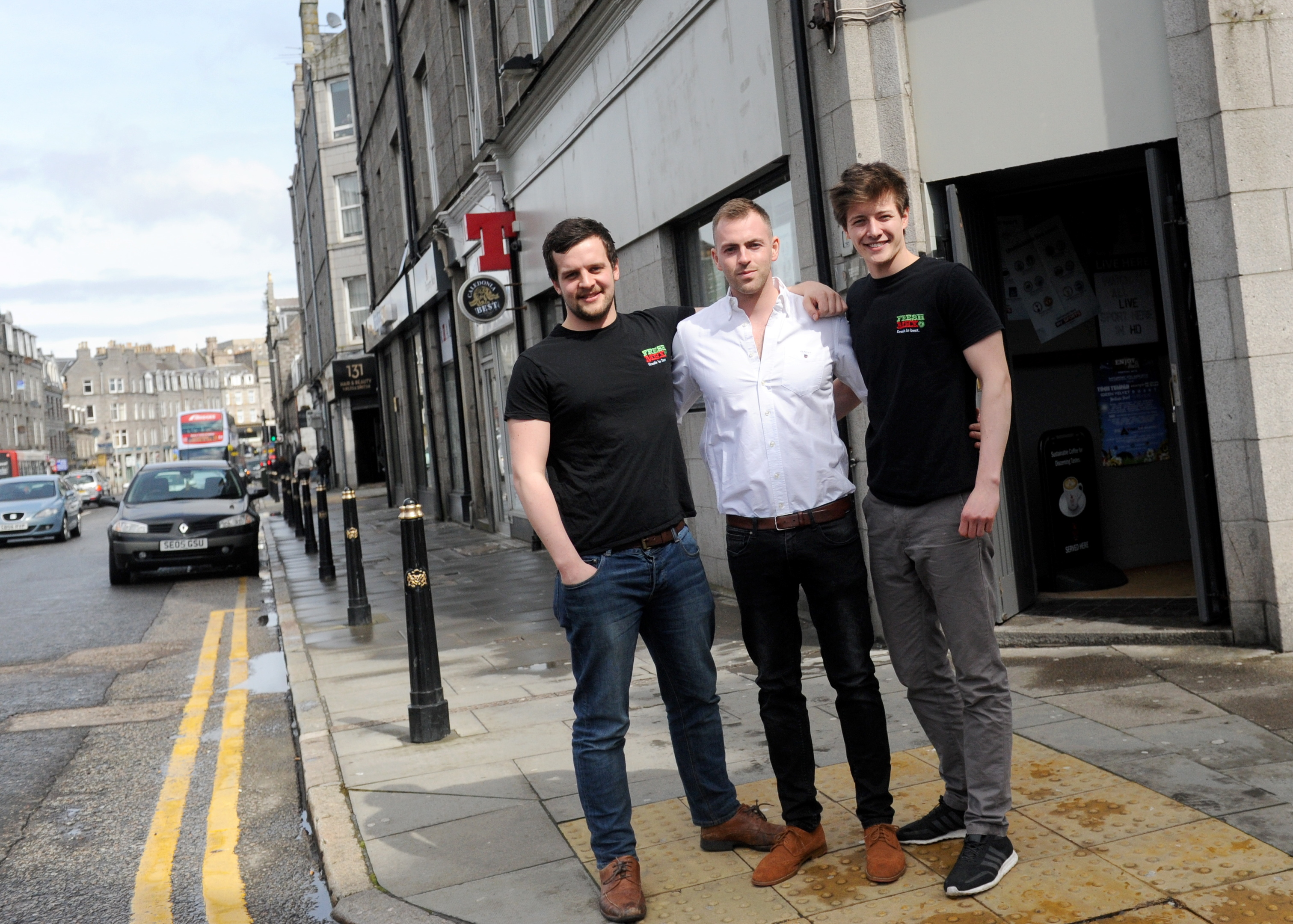 new venture:   Philip Adams, centre, who runs the Holburn Street  bar, with Calum Wright, left,  and Robbie Moult  of FreshMex.