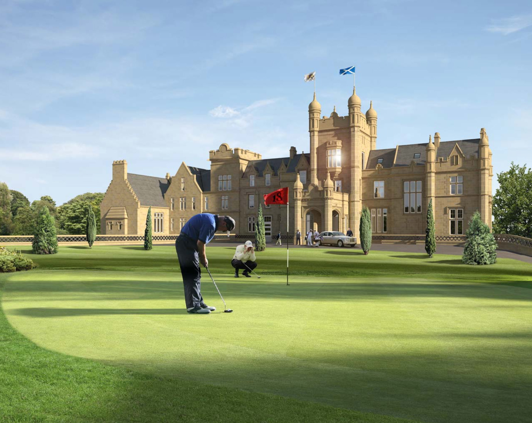 An artist's impression of how the Jack Nicklaus golf course could look, with Ury House in the background.