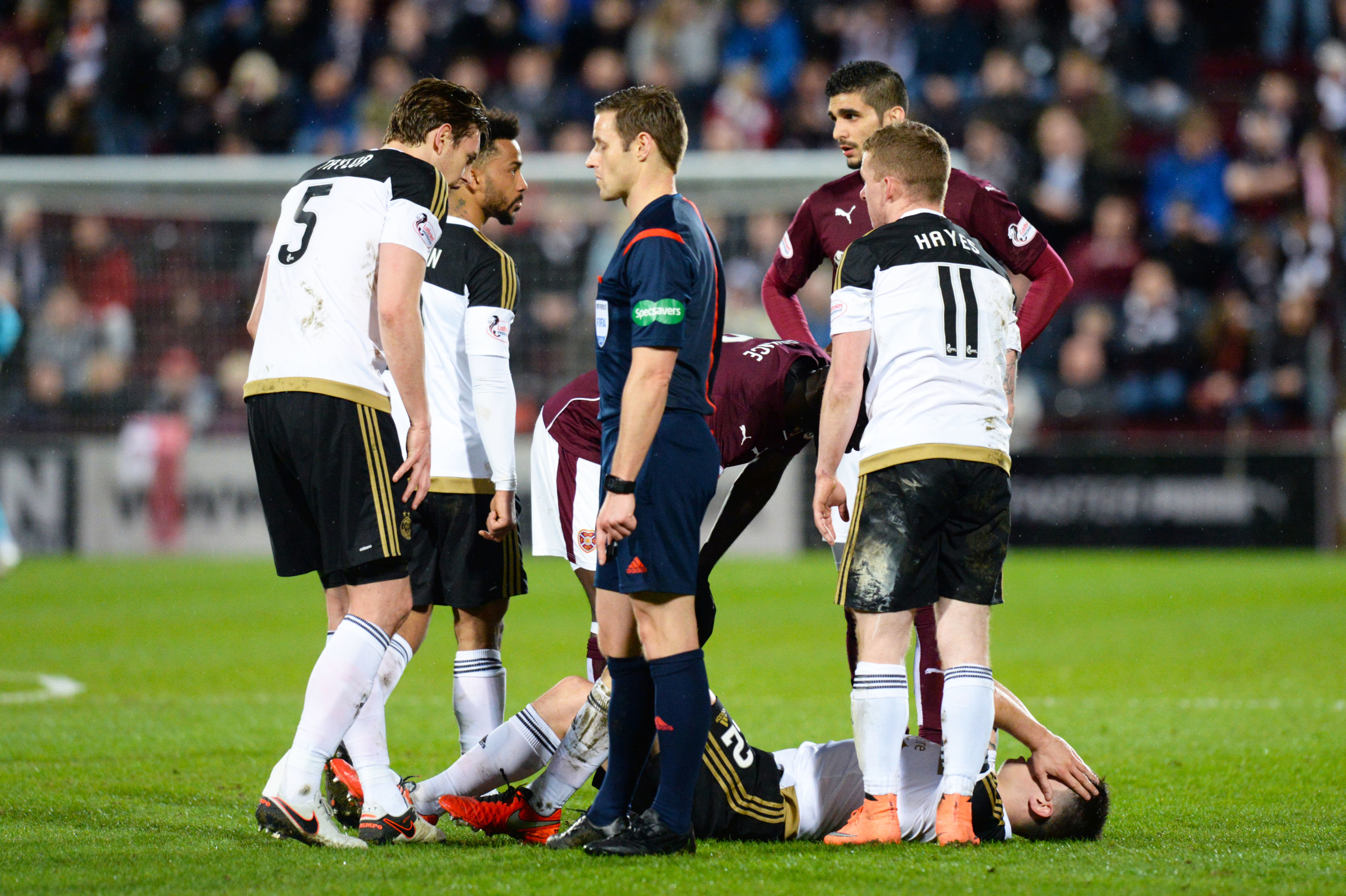 Ryan Jack picked up an injury in the 2-1 defeat to Hearts.