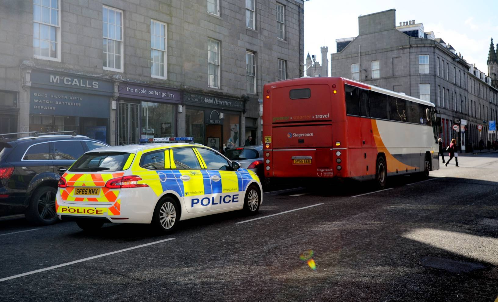 A broken down bus was causing tailbacks on King Street this morning.