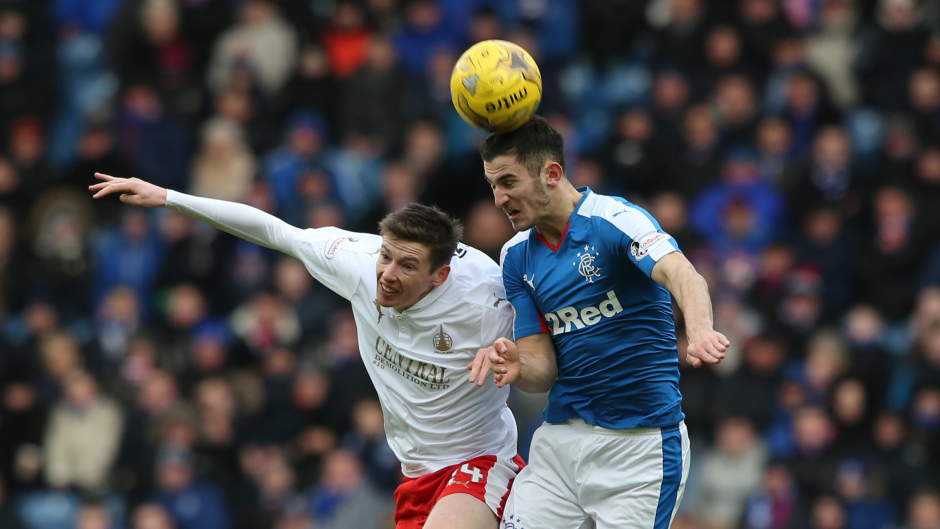 Dominic Ball playing for Rangers.