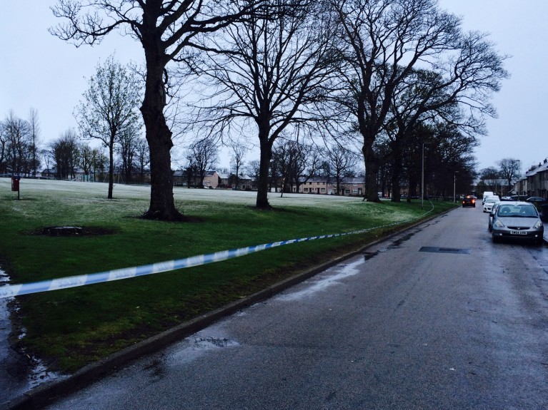 The majority of Eric Hendrie Park in Sheddocksley has been cordoned off.