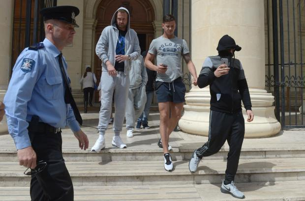Stuart Smith, right, leaves the court in Malta after being fined 1,000 euros. Picture by The Times of Malta