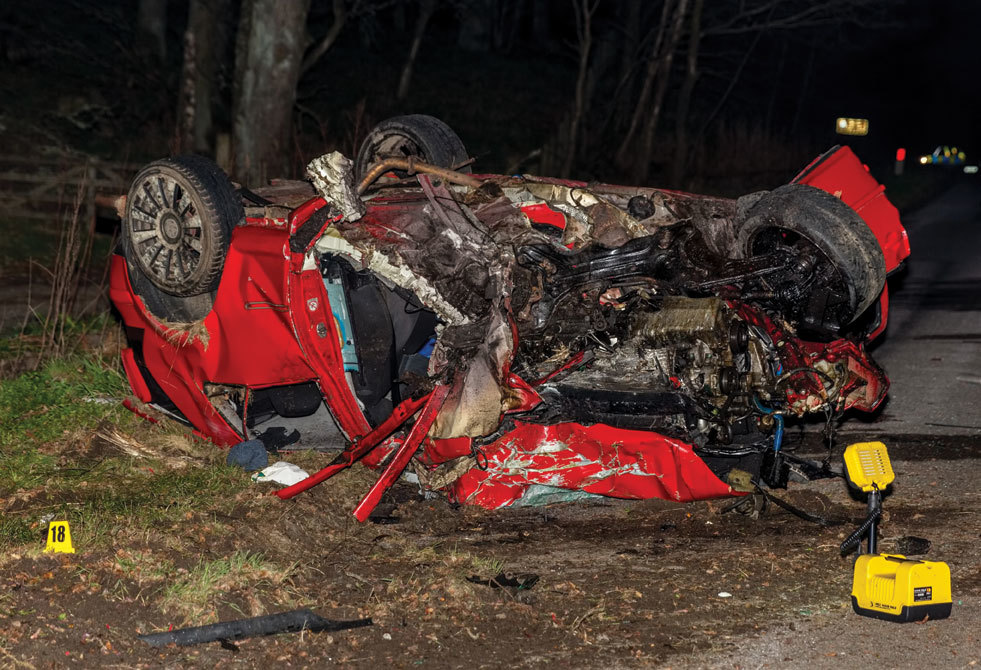 The wreckage of the VW Golf after the fatal smash on the A93 at Aboyne Loch.