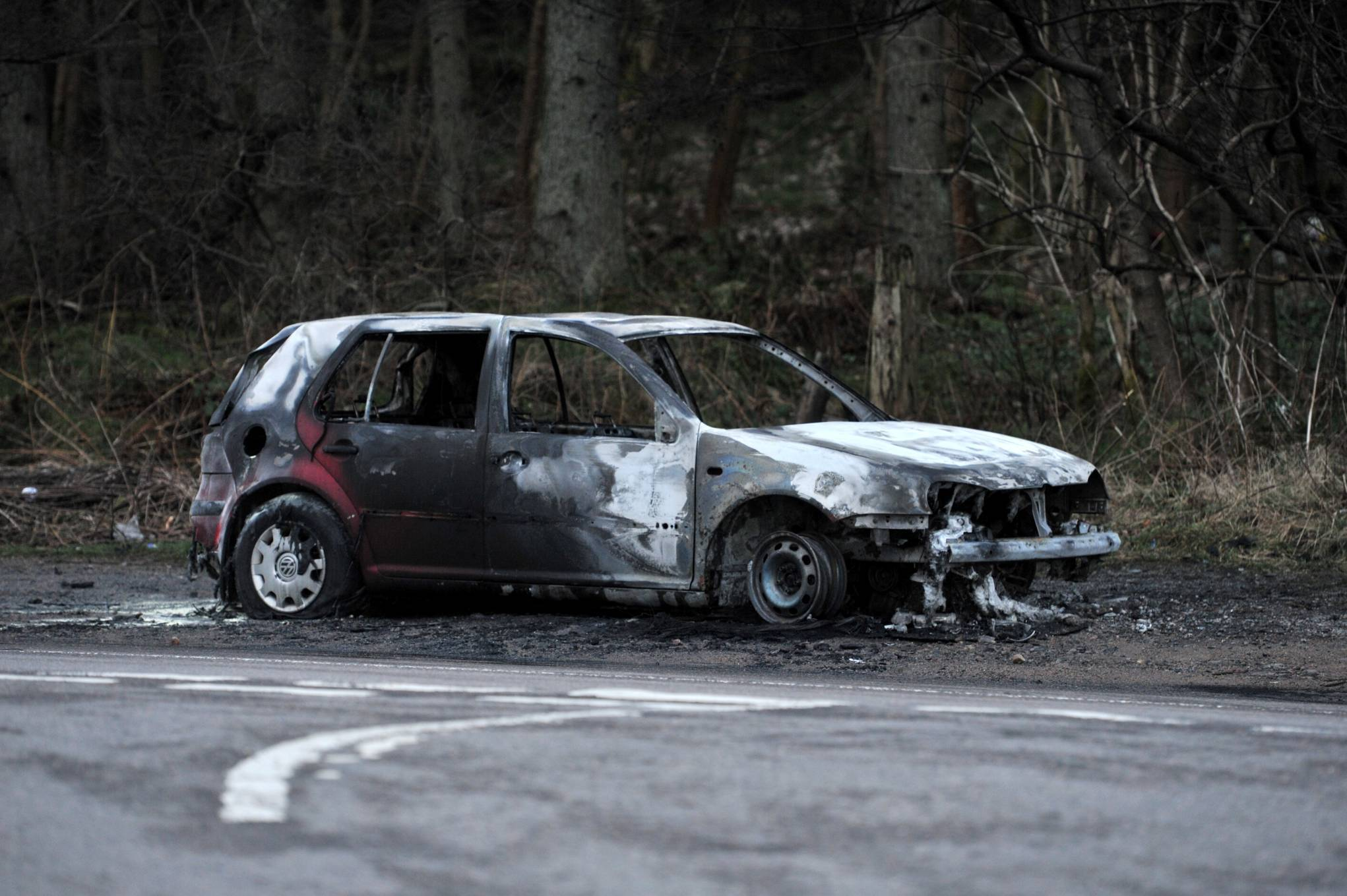 The burnt out car on North Deeside Road. Picture by Heather Fowlie.