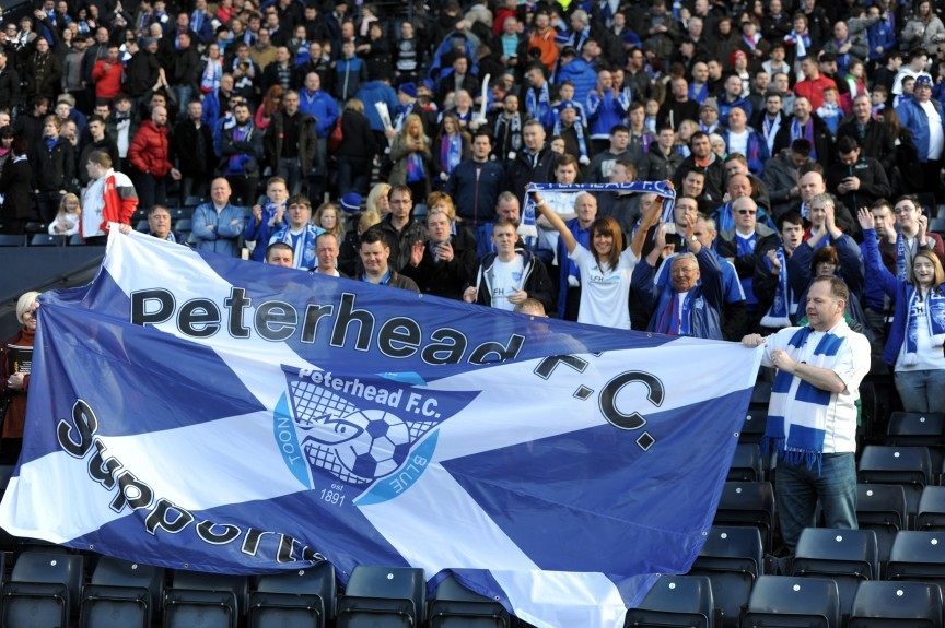 Petrofac Training Cup Final Hampden Park, Glasgow Rangers v Peterhead FC Pictured is Peterhead fans Picture by DARRELL BENNS     Pictured on 10/04/2016