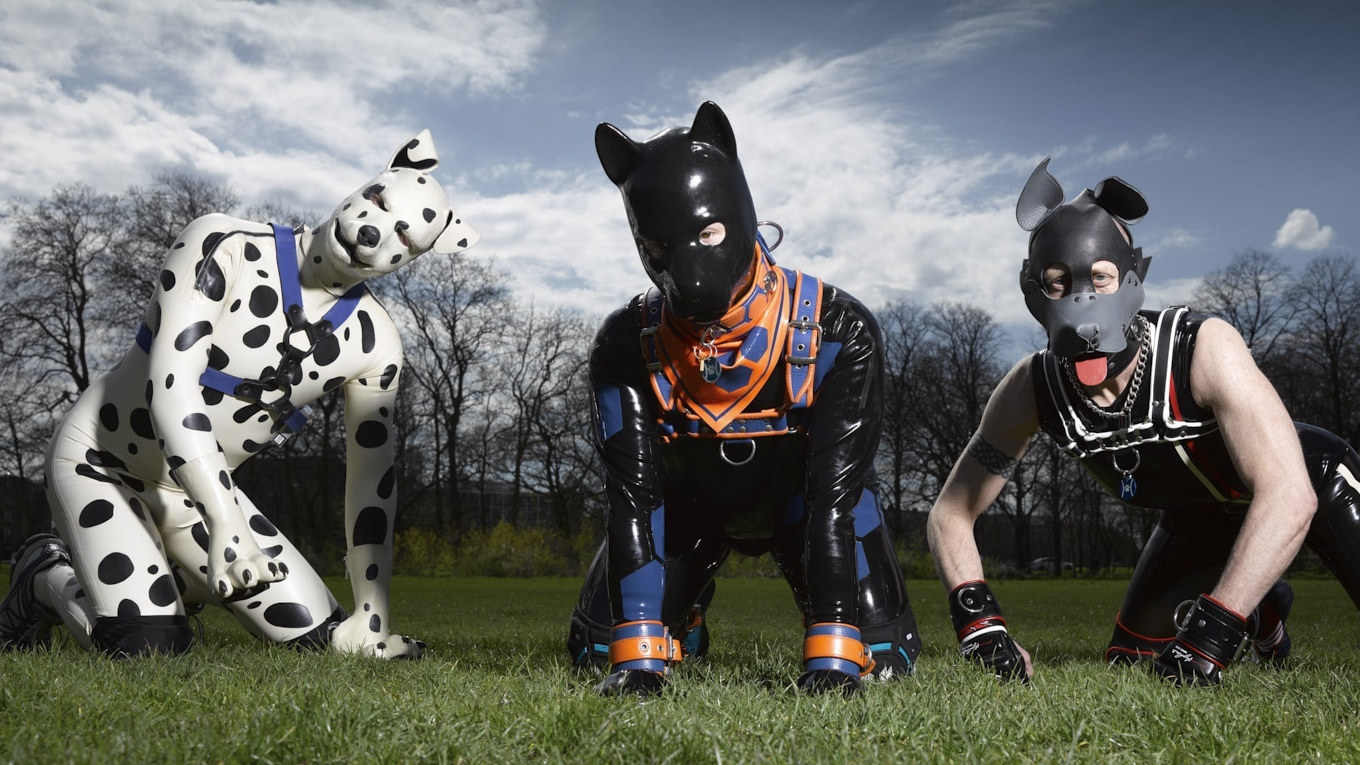 men dressed as pups pose on the grass (Channel 4)