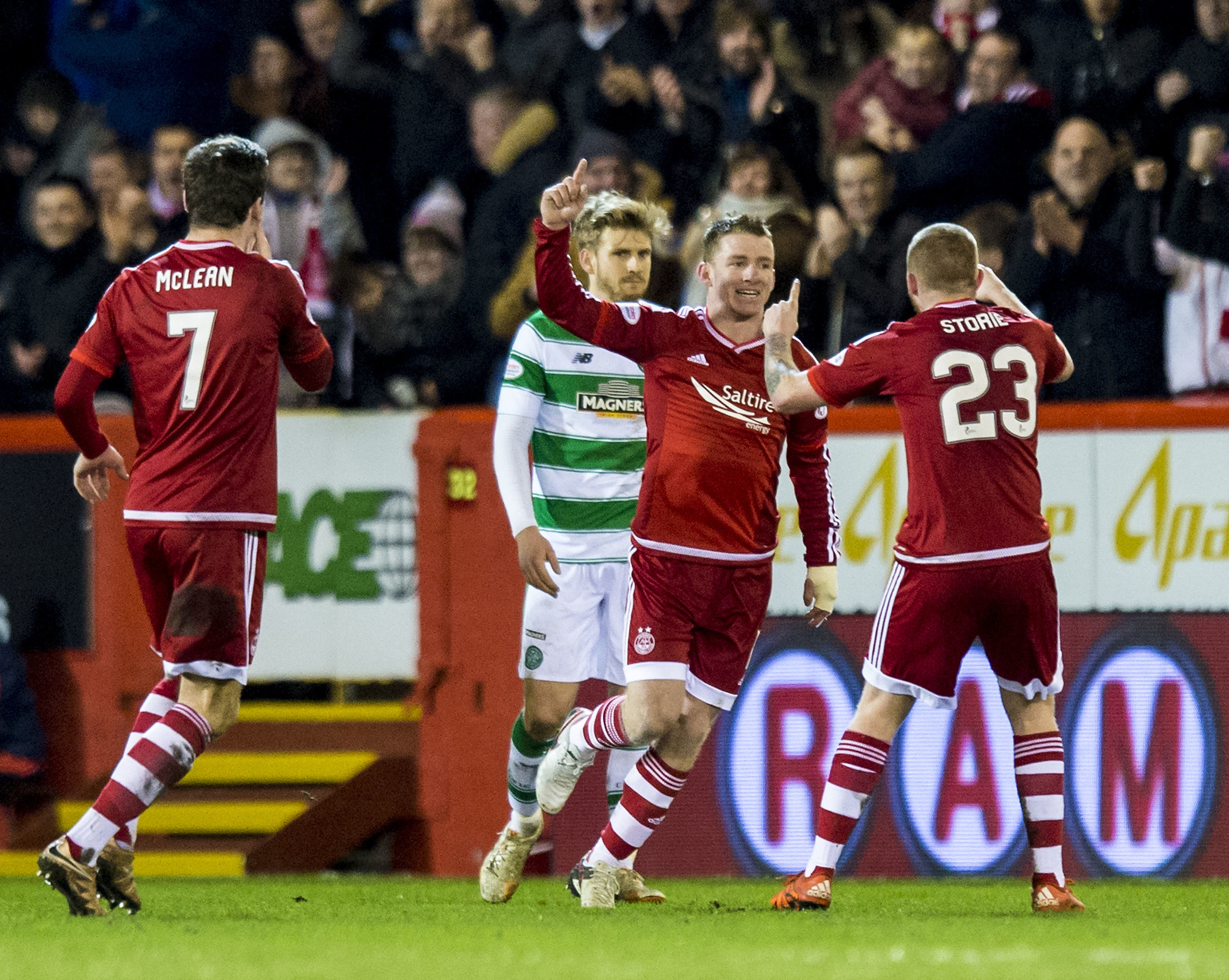 Aberdeen's Jonny Hayes celebrates his 2014 goal against Celtic.
