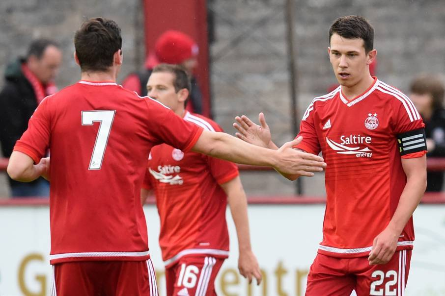 Aberdeen celebrate scoring against Brechin City in a pre-season match last season.