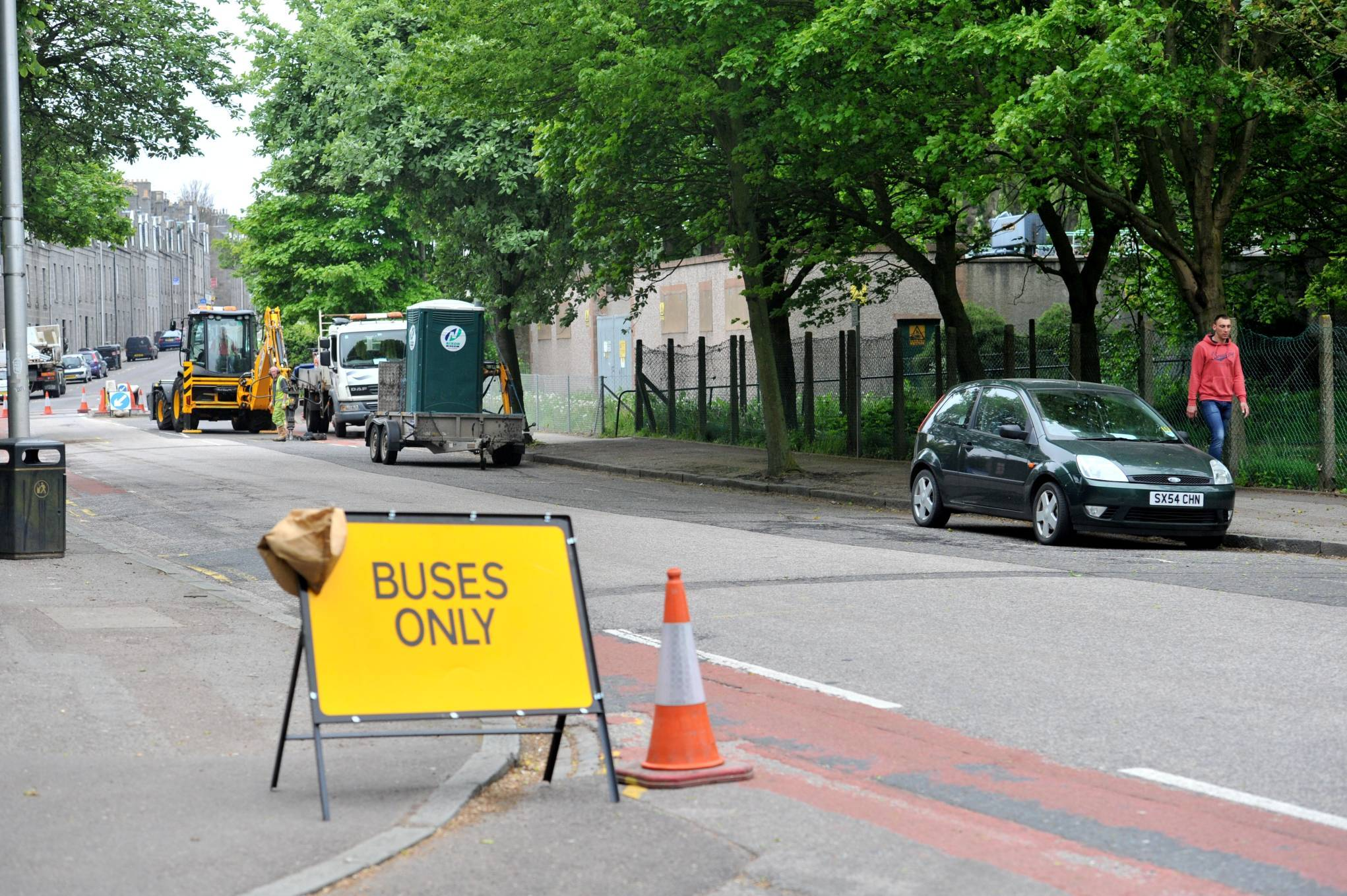 Work has started on creating the bus gate on Bedford Road.