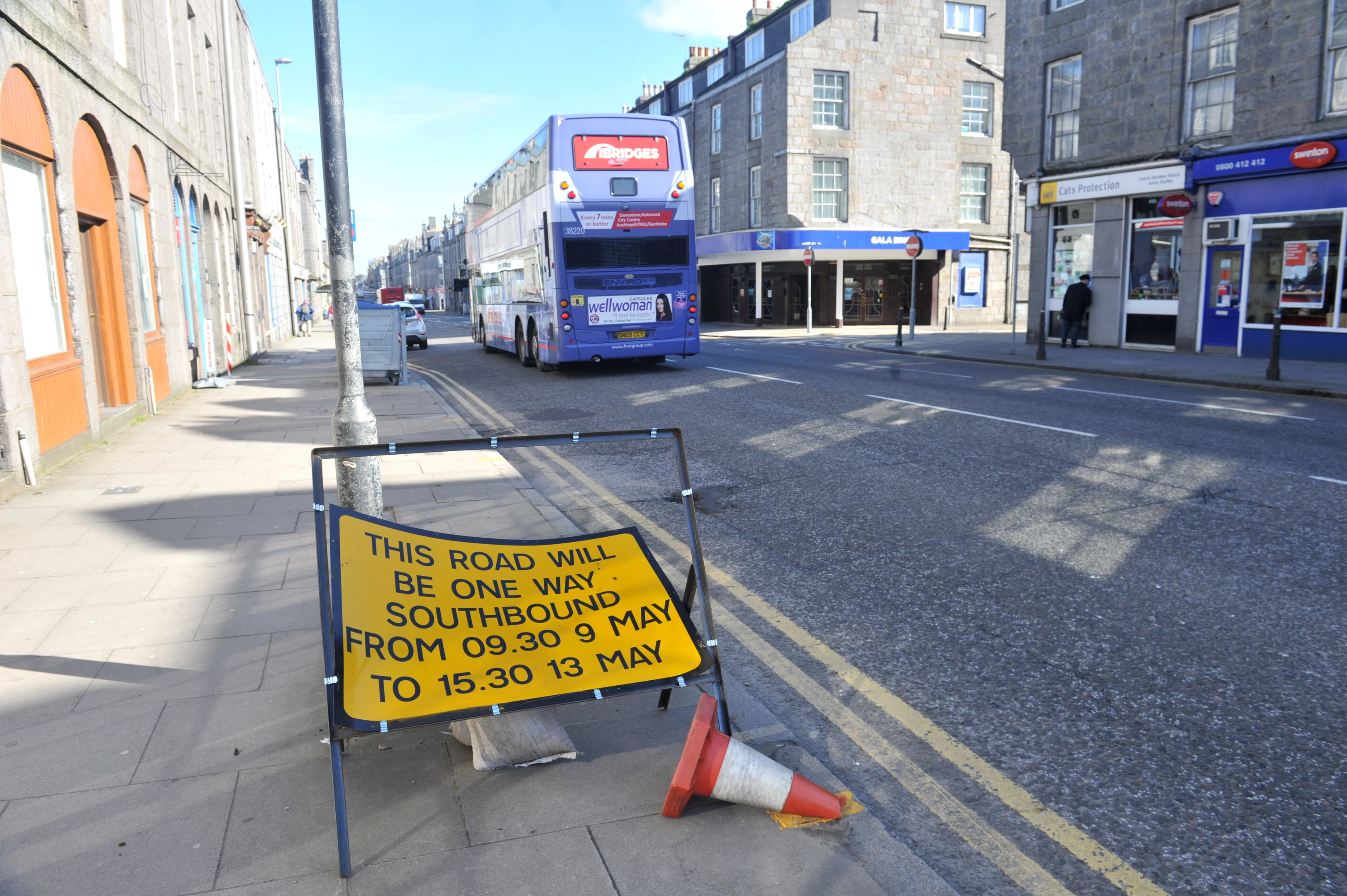 Signs up on King Street to inform drivers of the one-way system plans.