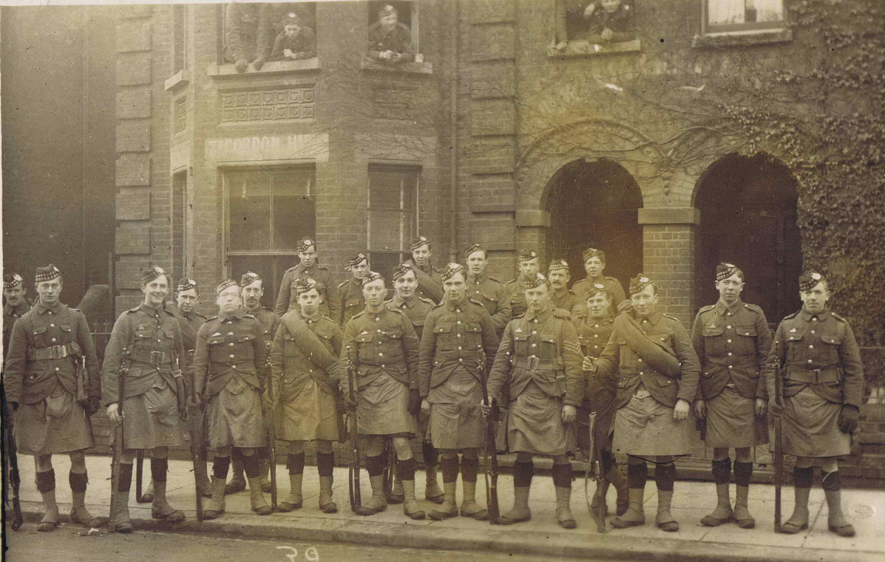 Private Peter Watt is the young lad fourth from the left, front row, in this regimental photograph.