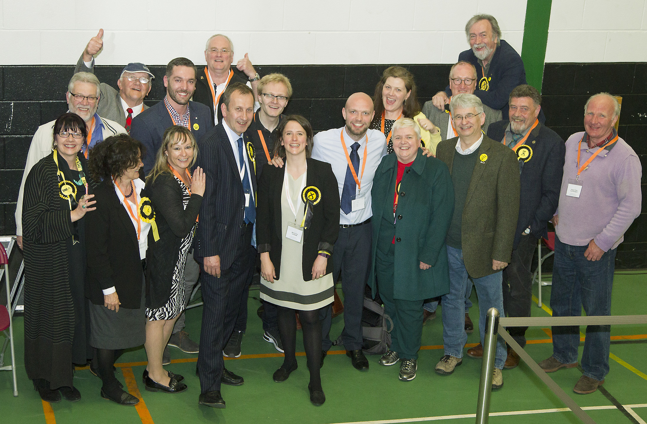The SNP's Mairi Evans, centre,  celebrates winning with friends and colleagues.
