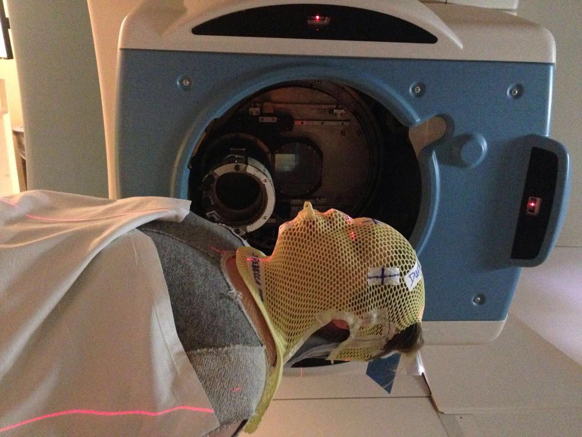 Rebecca receiving proton treatment in the US.