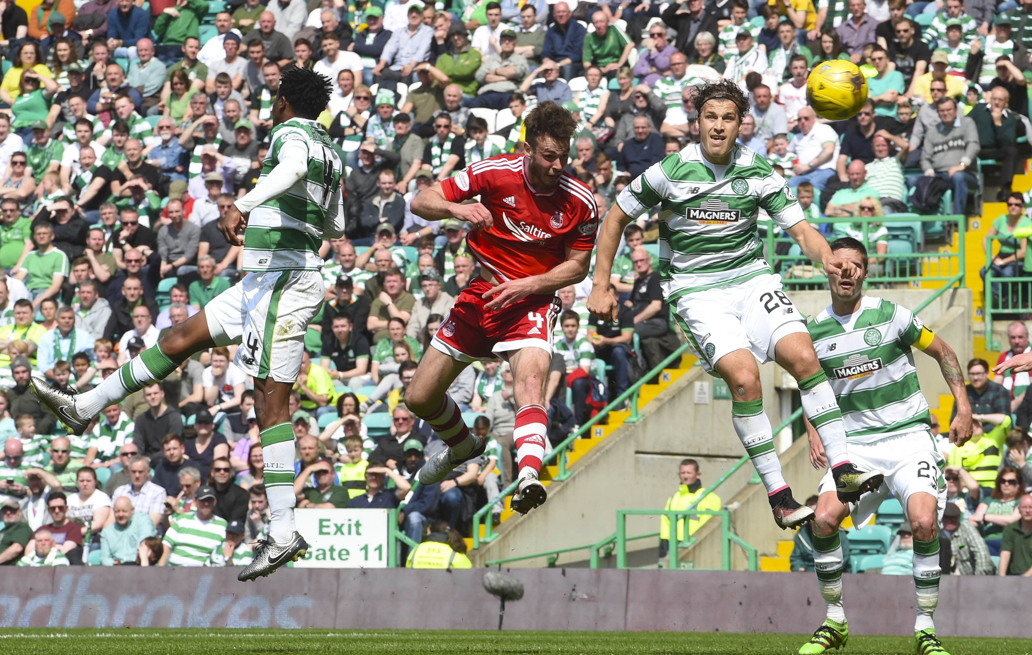 Andy Considine fires home Aberdeen's second goal against Celtic.
